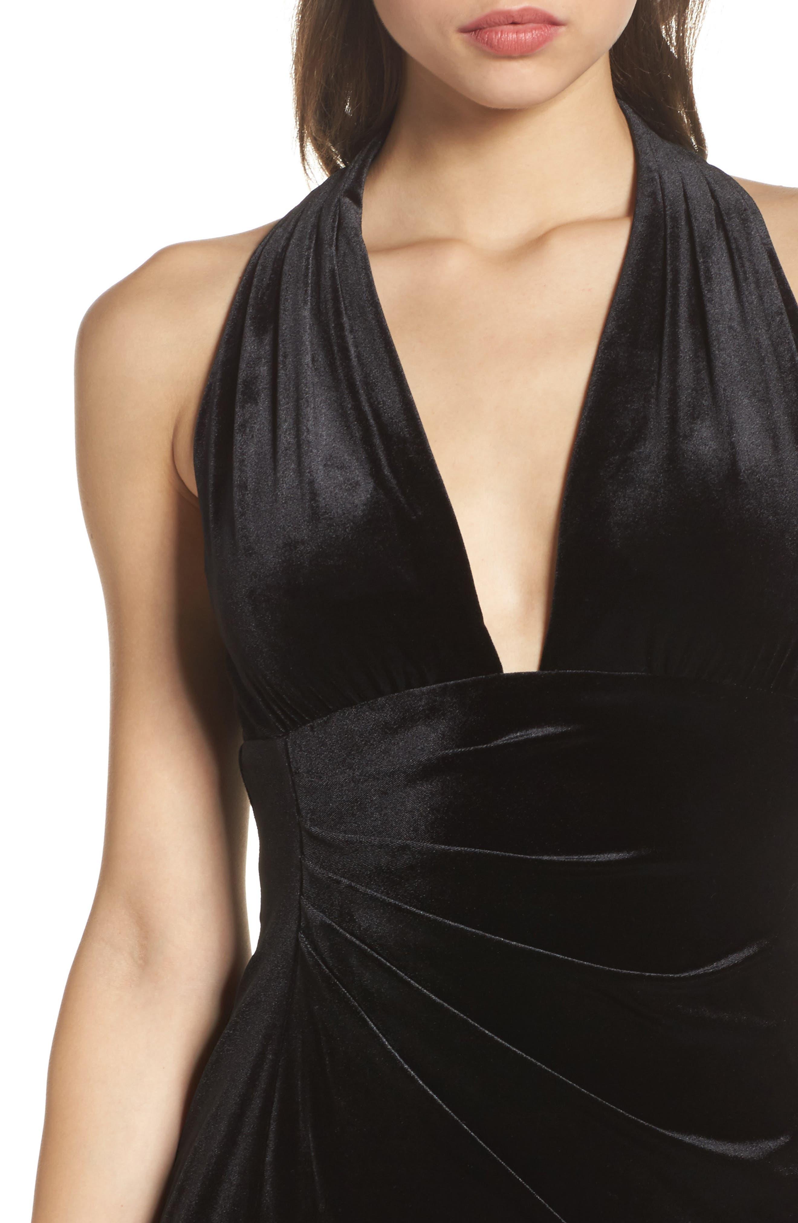 Plunging Side Drape Velvet Gown,                             Alternate thumbnail 4, color,                             001