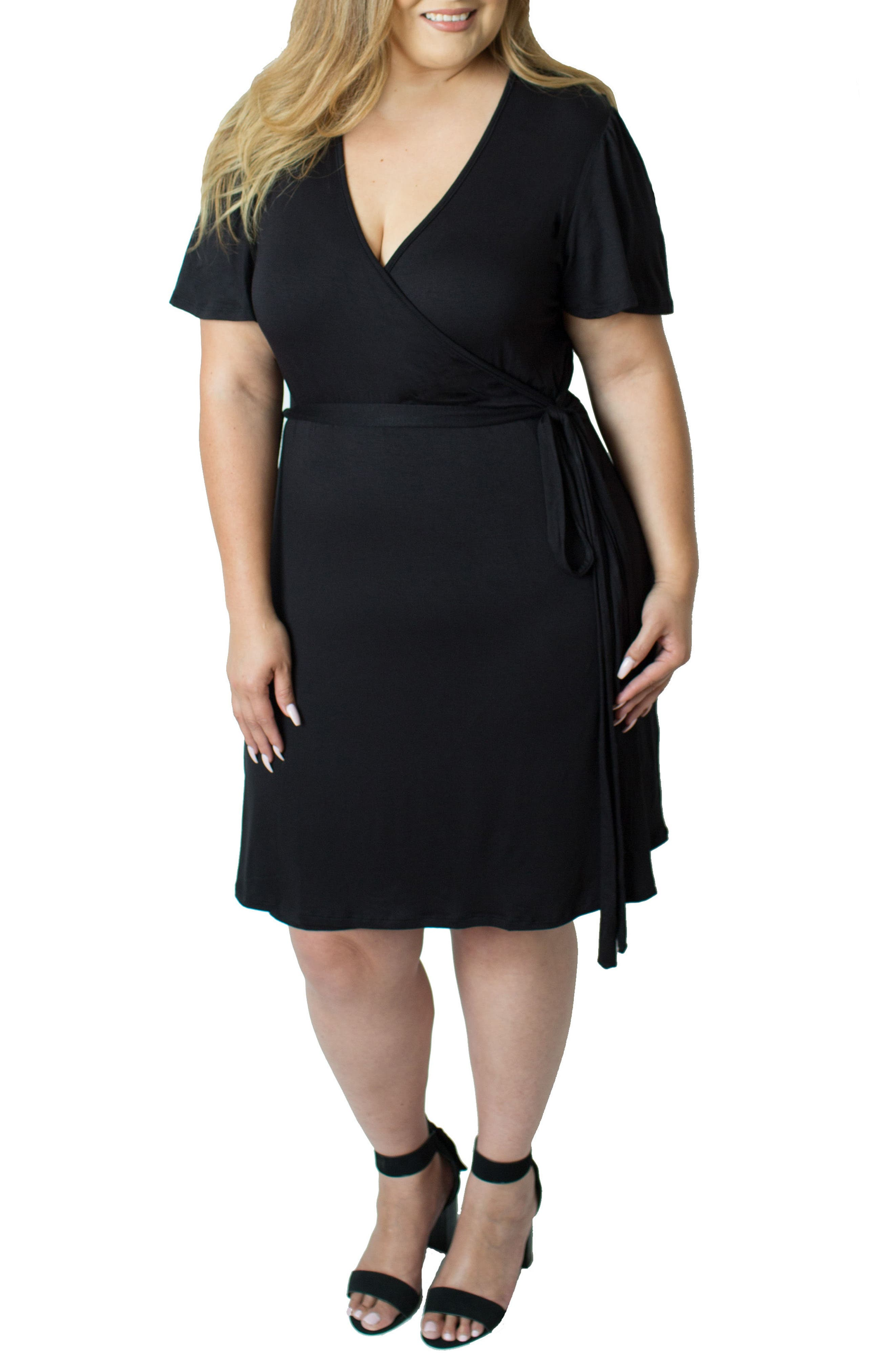 Wrap Nursing Dress,                         Main,                         color, BLACK
