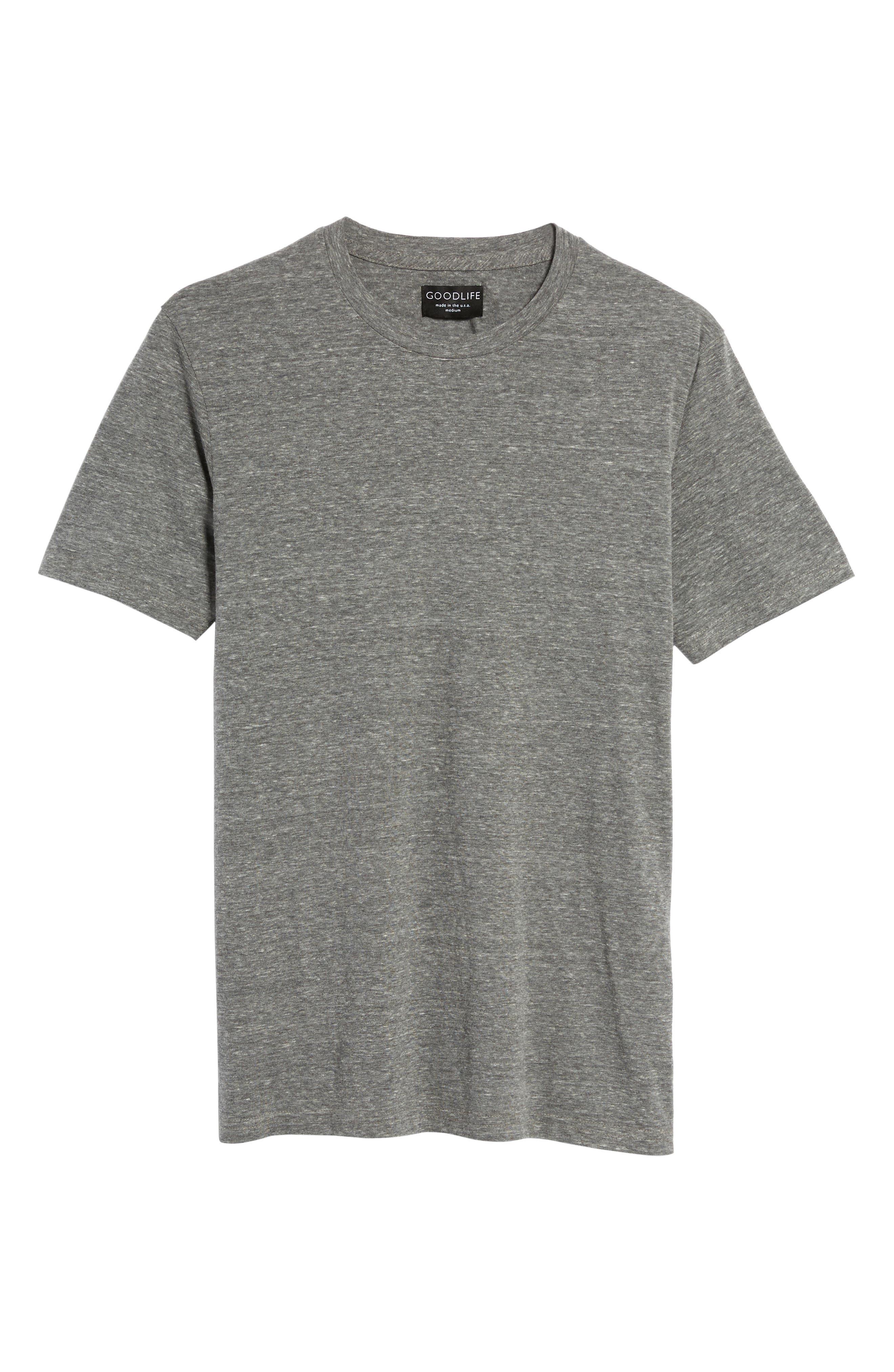 Supima Cotton Blend Crewneck T-Shirt,                             Alternate thumbnail 6, color,                             HEATHER GREY
