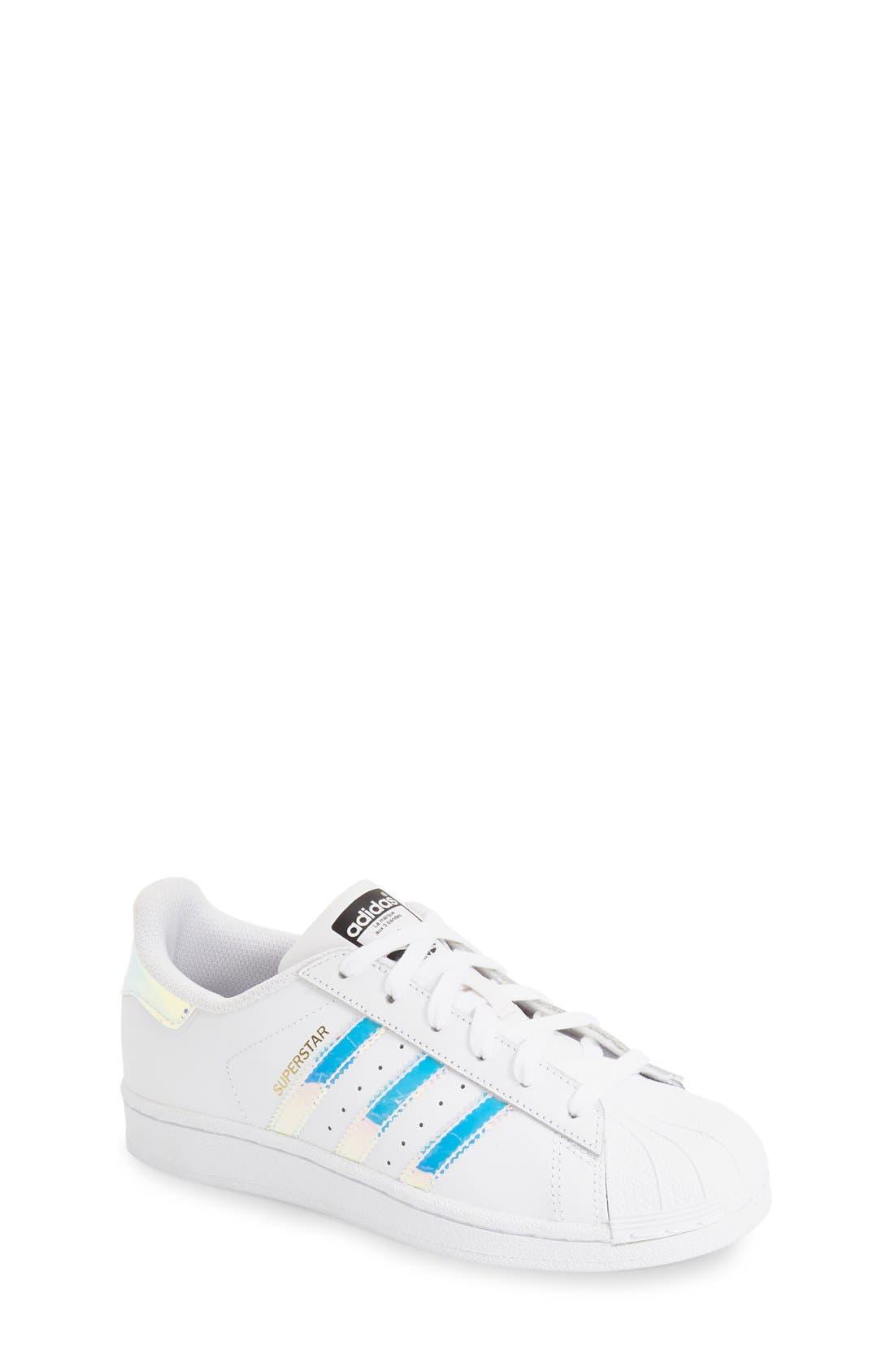 Superstar - Iridescent Sneaker,                             Main thumbnail 1, color,                             SILVER METALLIC/ WHITE