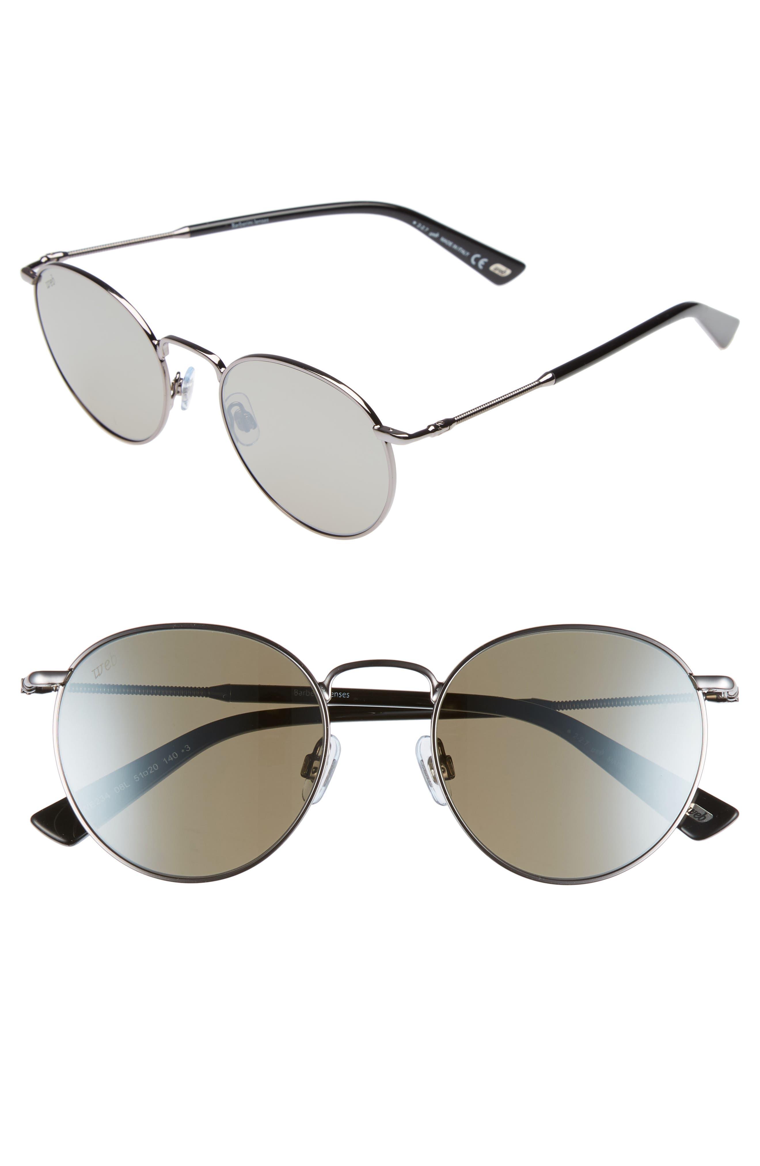 51mm Round Metal Sunglasses,                             Main thumbnail 1, color,                             SHINY GUNMETAL/ ROVIEX MIRROR