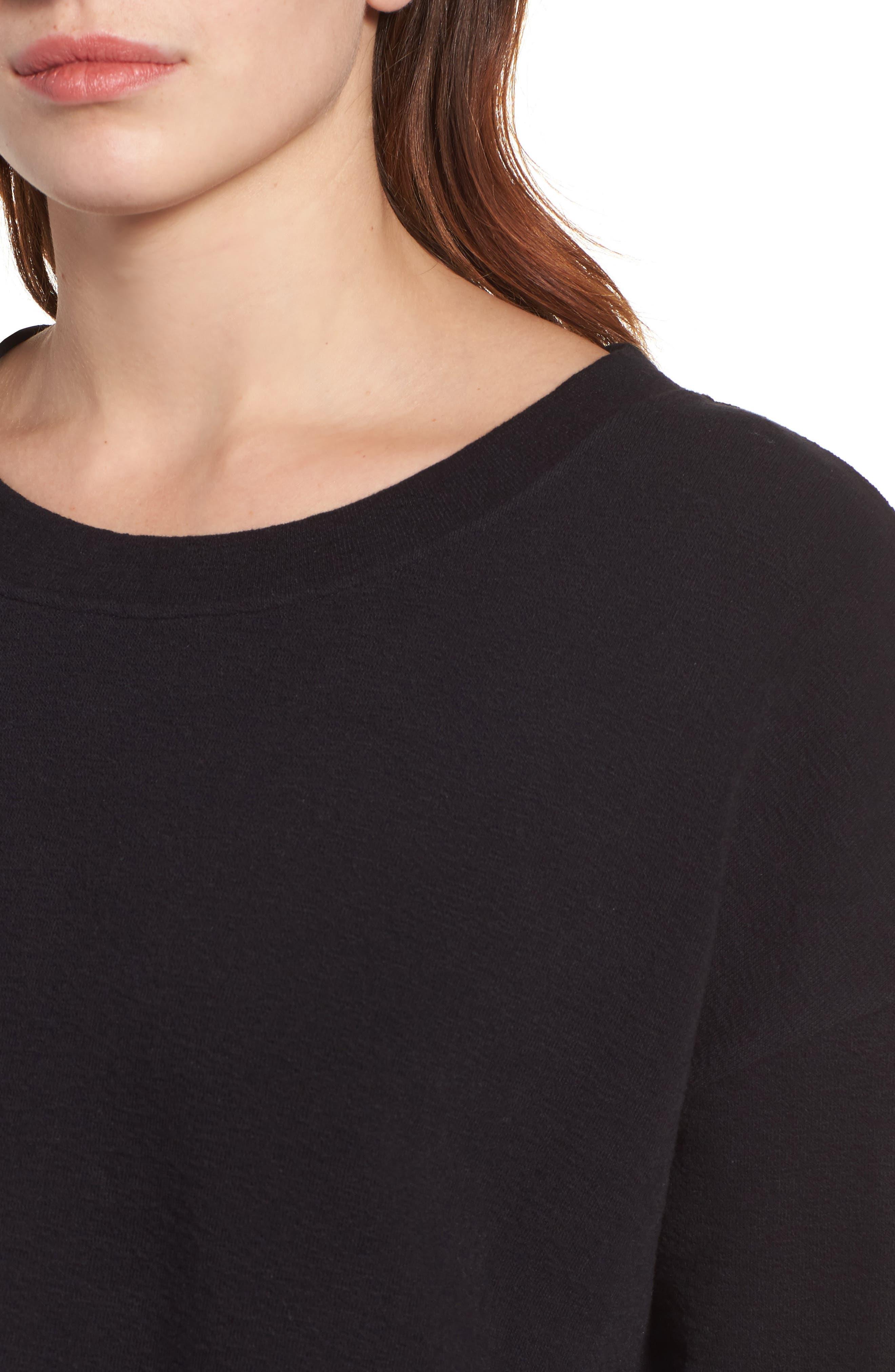 CASLON<SUP>®</SUP>,                             Side Slit Relaxed Sweatshirt,                             Alternate thumbnail 4, color,                             BLACK