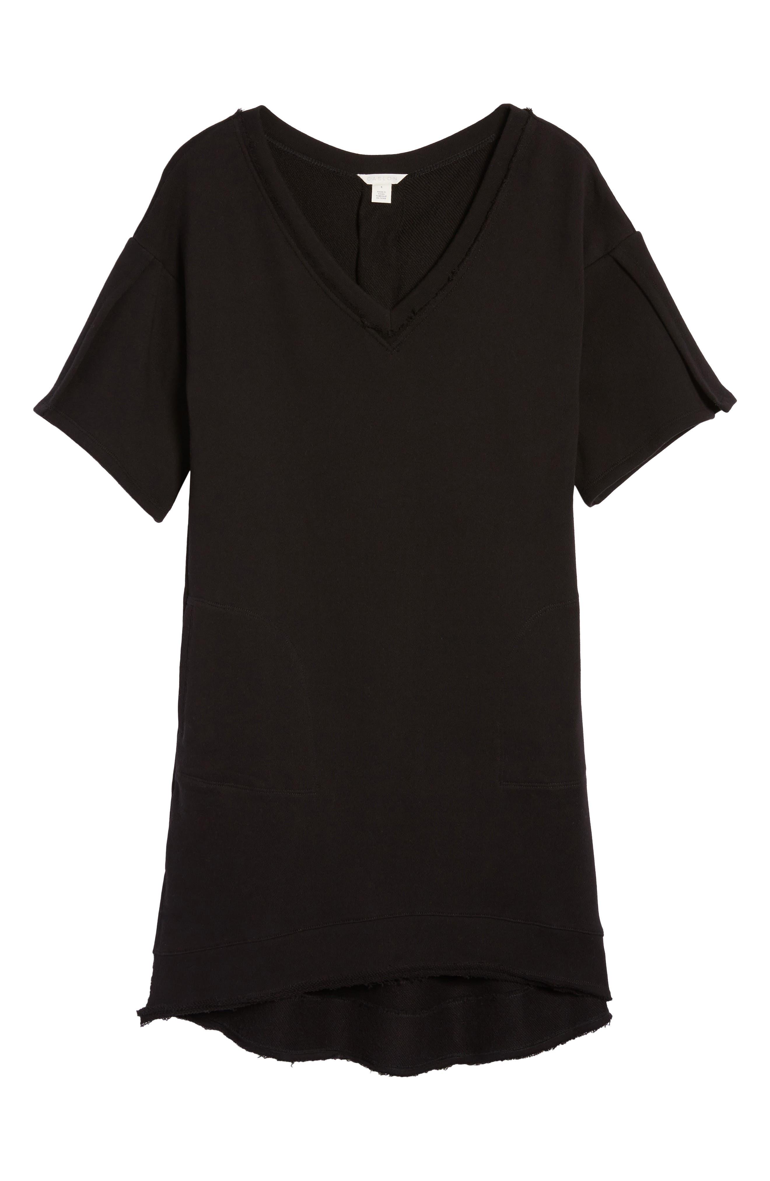 Lace-Up T-Shirt Dress,                             Alternate thumbnail 6, color,                             001
