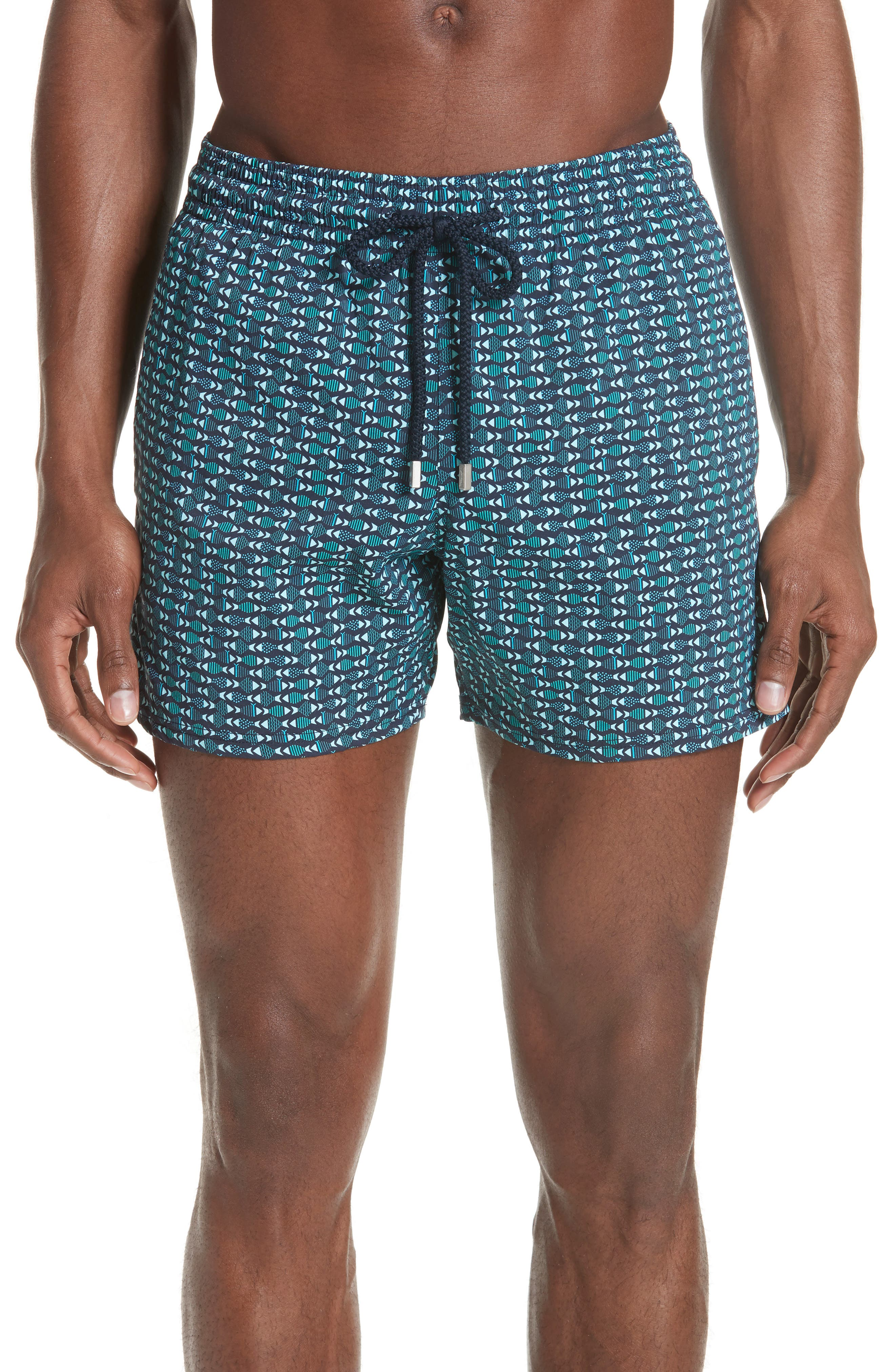 VILEBREQUIN Modernist Fish Print Swim Trunks, Main, color, NAVY