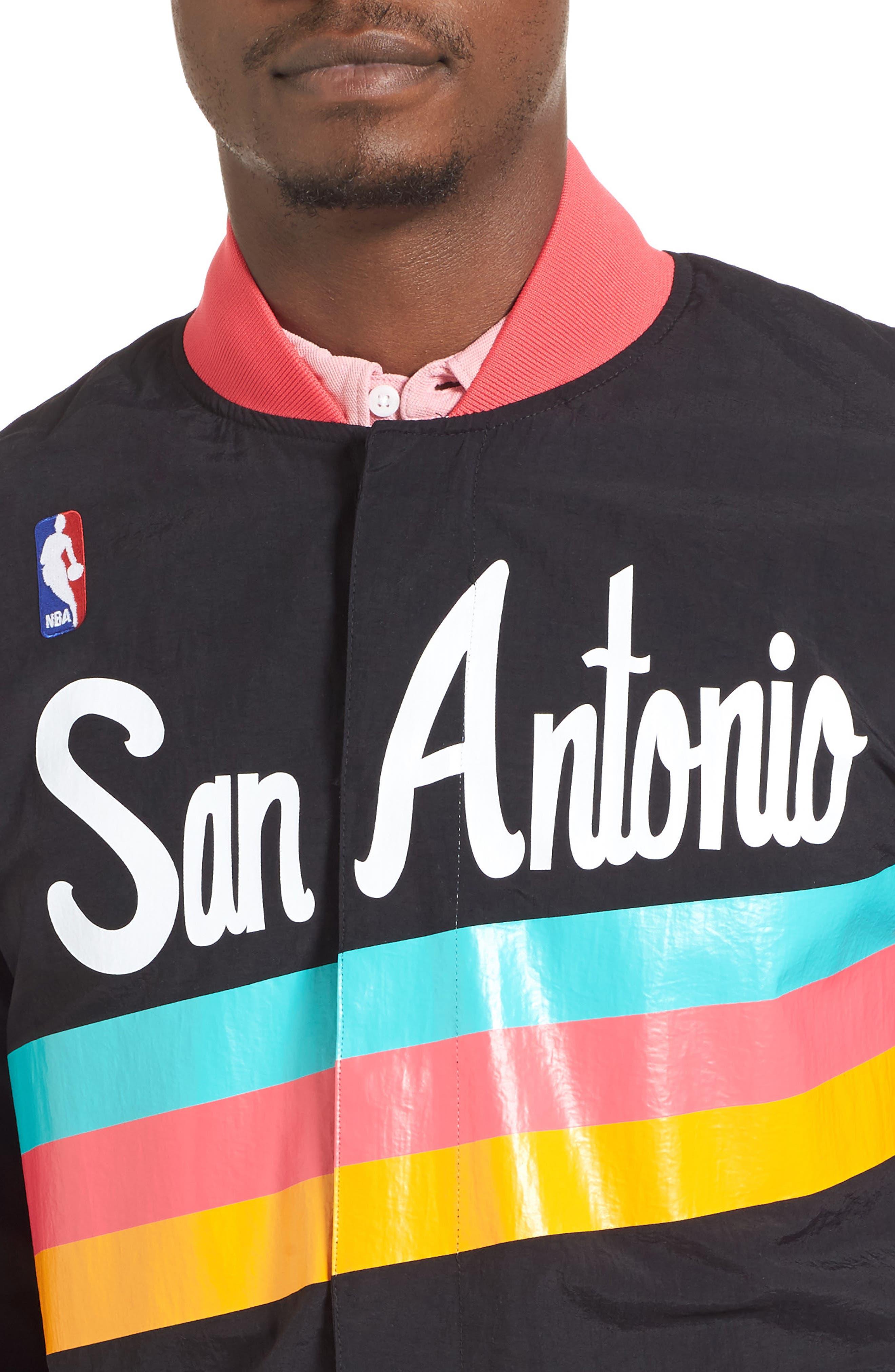 MITCHELL & NESS,                             'San Antonio Spurs' Warm-Up Jacket,                             Alternate thumbnail 5, color,                             001