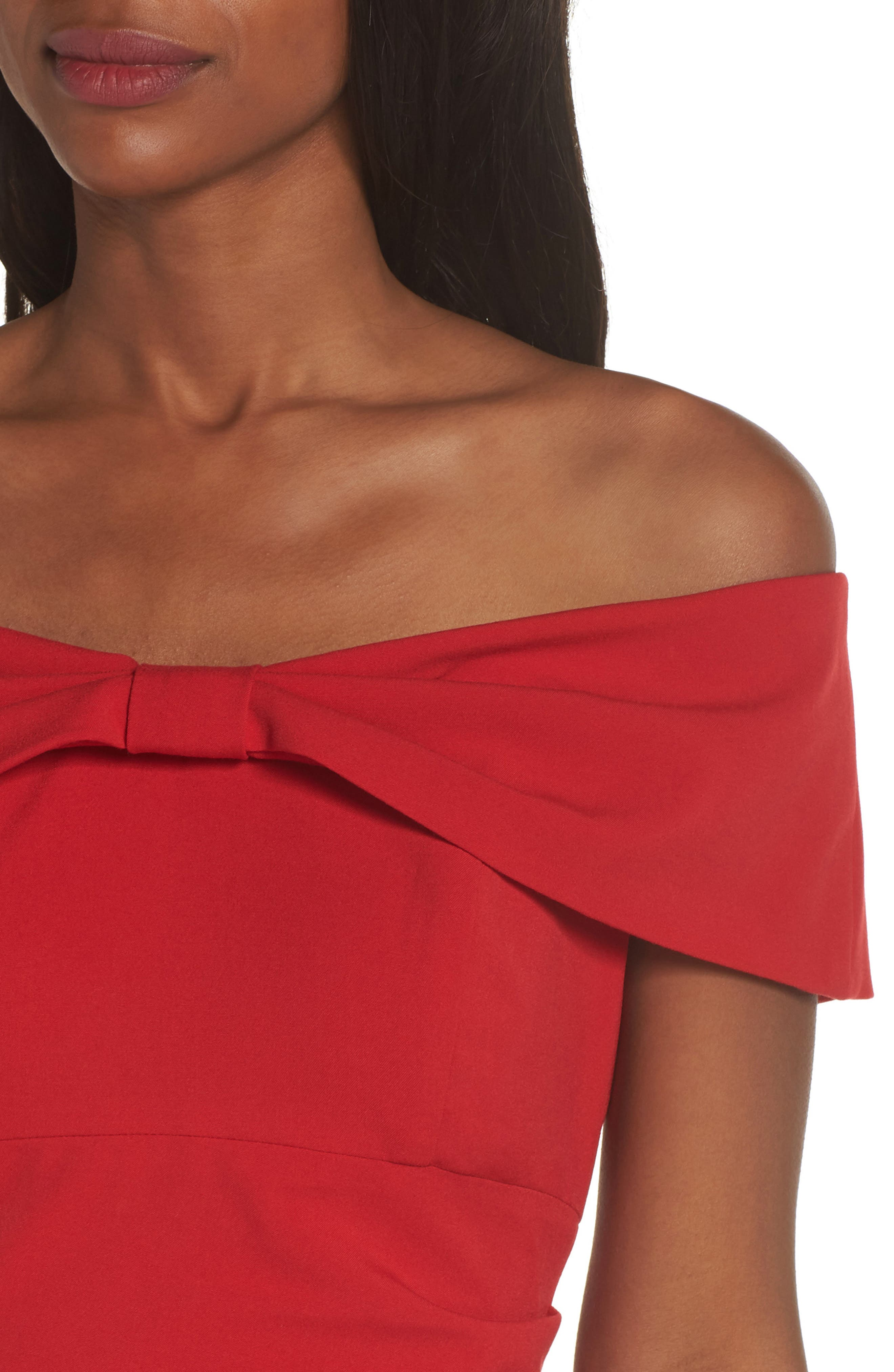 Knot Front Off the Shoulder Gown,                             Alternate thumbnail 4, color,                             RED