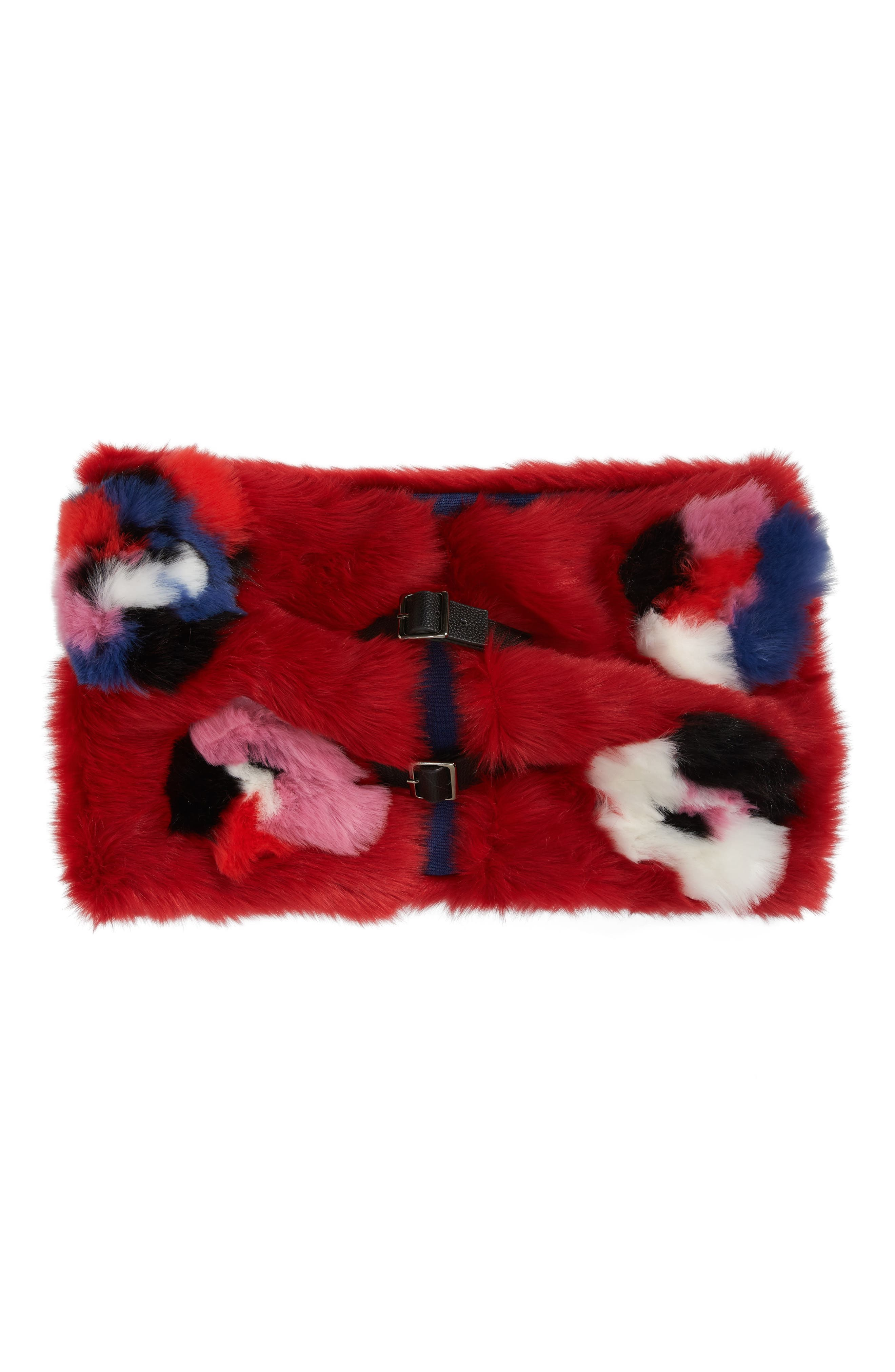 Buckled Faux Fur Cowl Scarf,                             Alternate thumbnail 6, color,