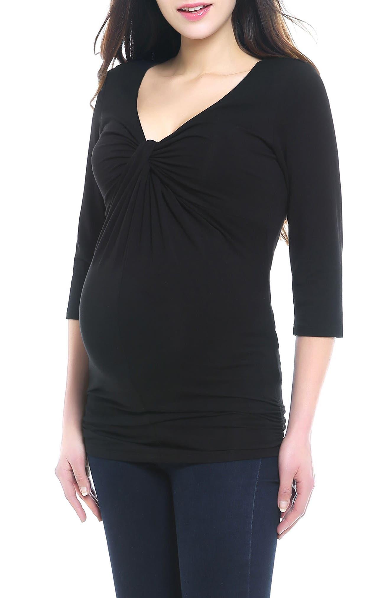 Grace Twist Knot Maternity Top,                         Main,                         color, BLACK