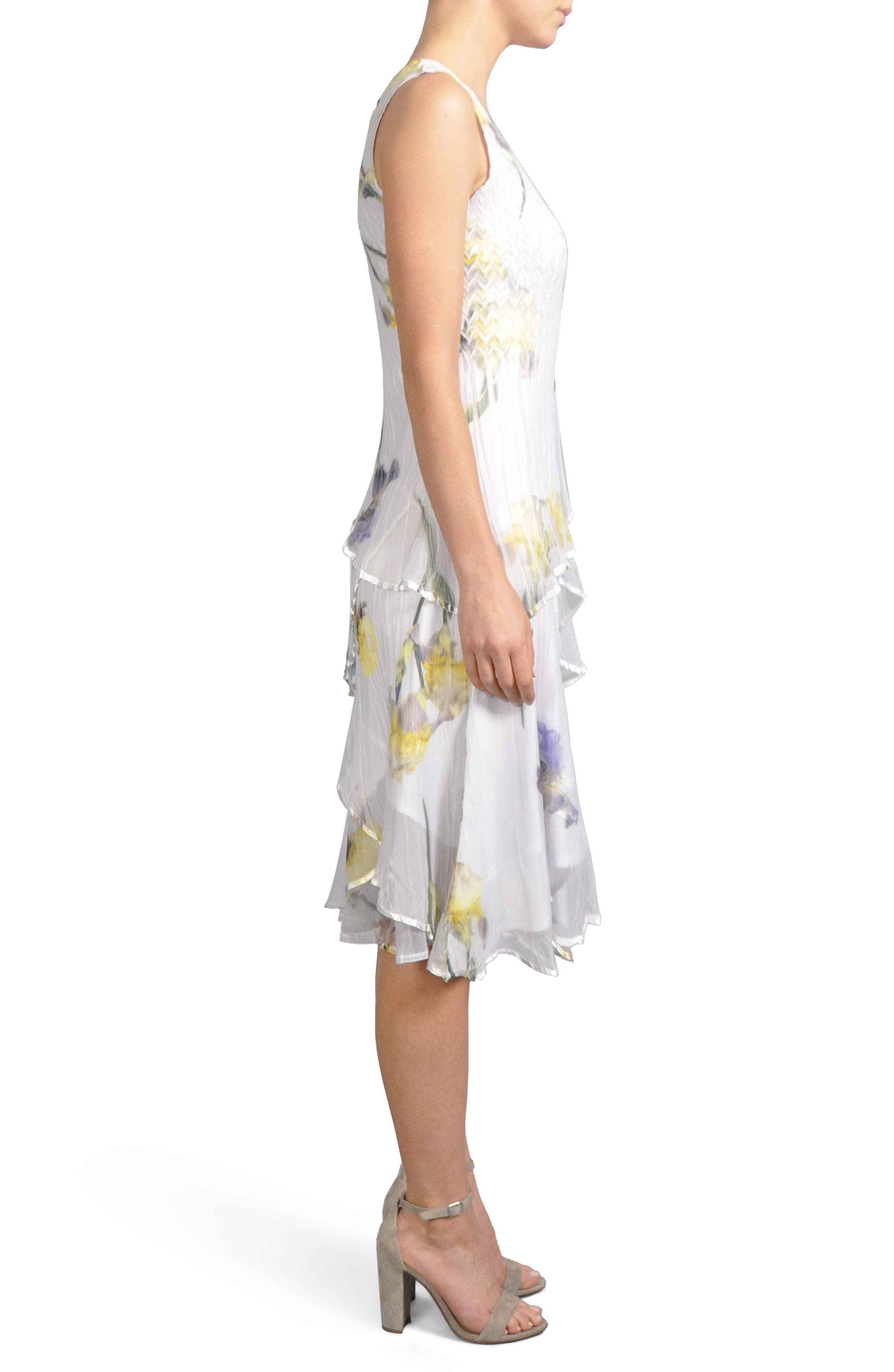 Tiered Chiffon Dress with Wrap,                             Alternate thumbnail 3, color,                             479
