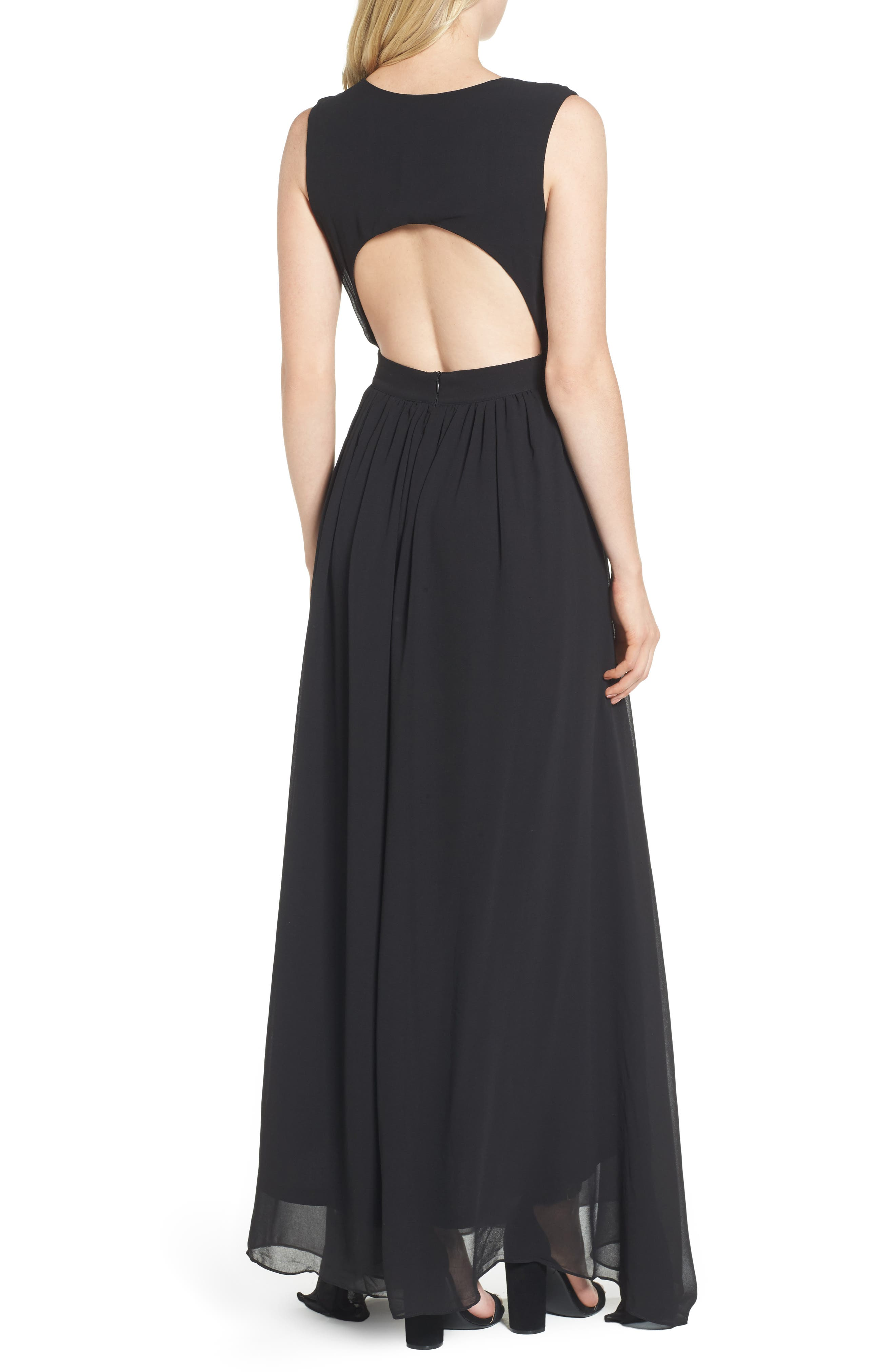 Bishop + Young Plunging Maxi Dress,                             Alternate thumbnail 2, color,                             001