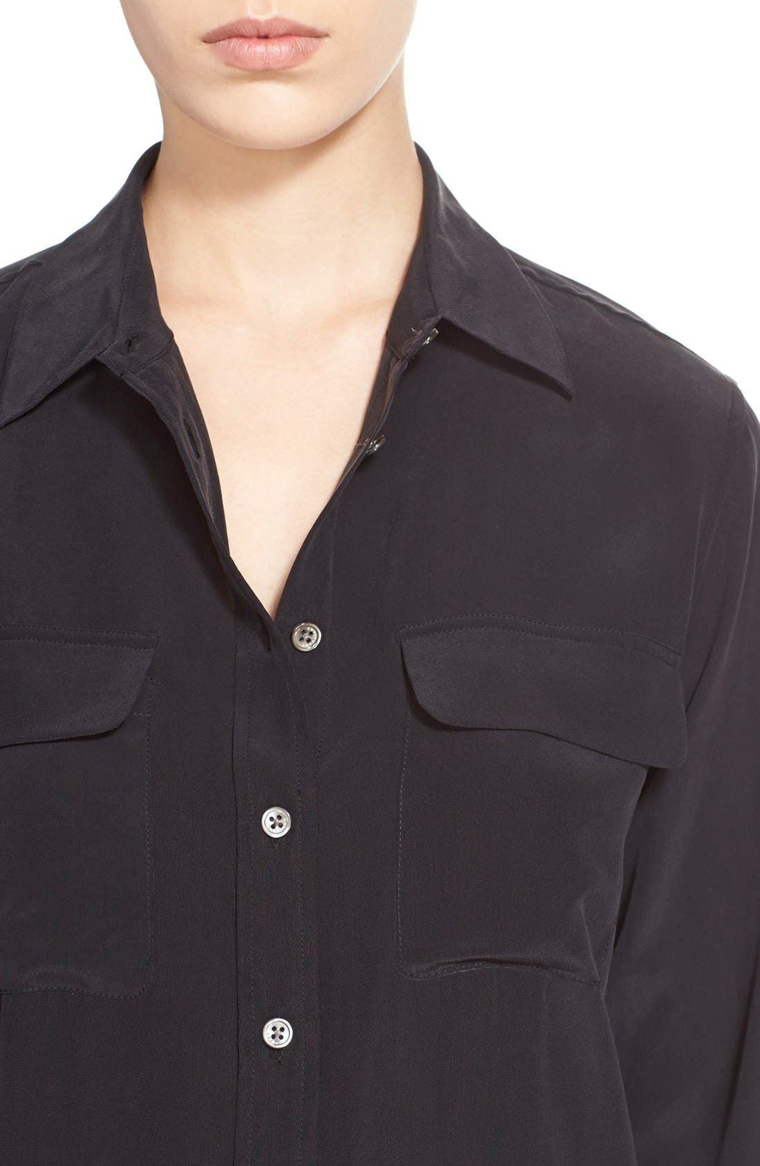 'Slim Signature' Silk Shirt,                             Alternate thumbnail 3, color,                             TRUE BLACK