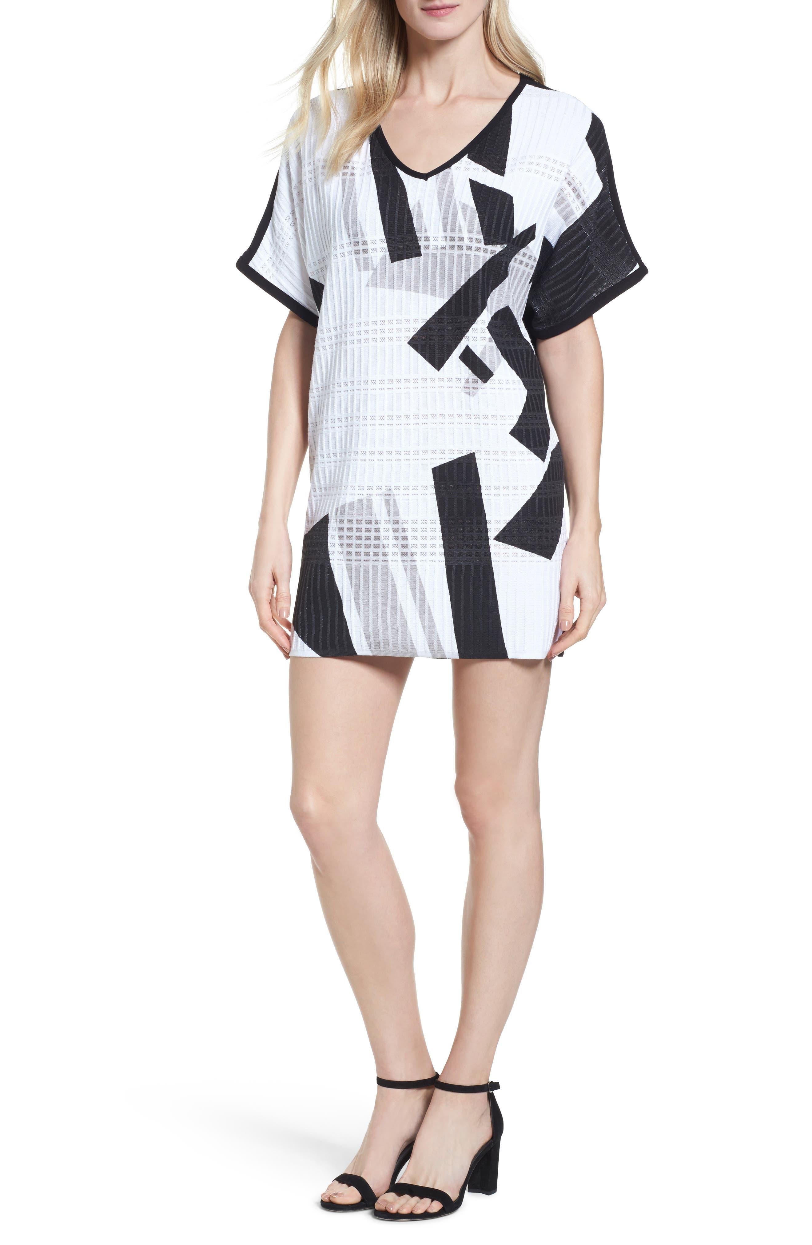 Geometric Jacquard Tunic Dress,                             Alternate thumbnail 5, color,                             251