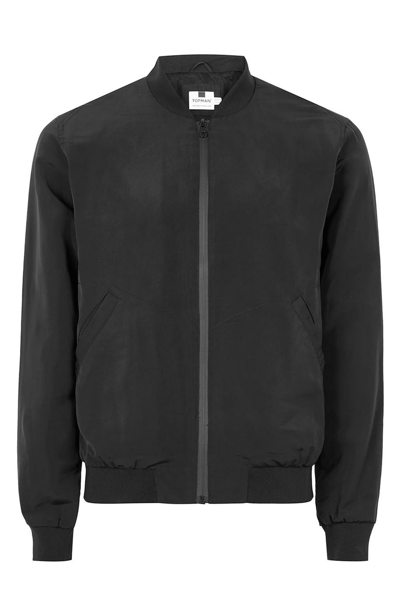 Mesh Lined Bomber Jacket,                             Alternate thumbnail 3, color,                             001