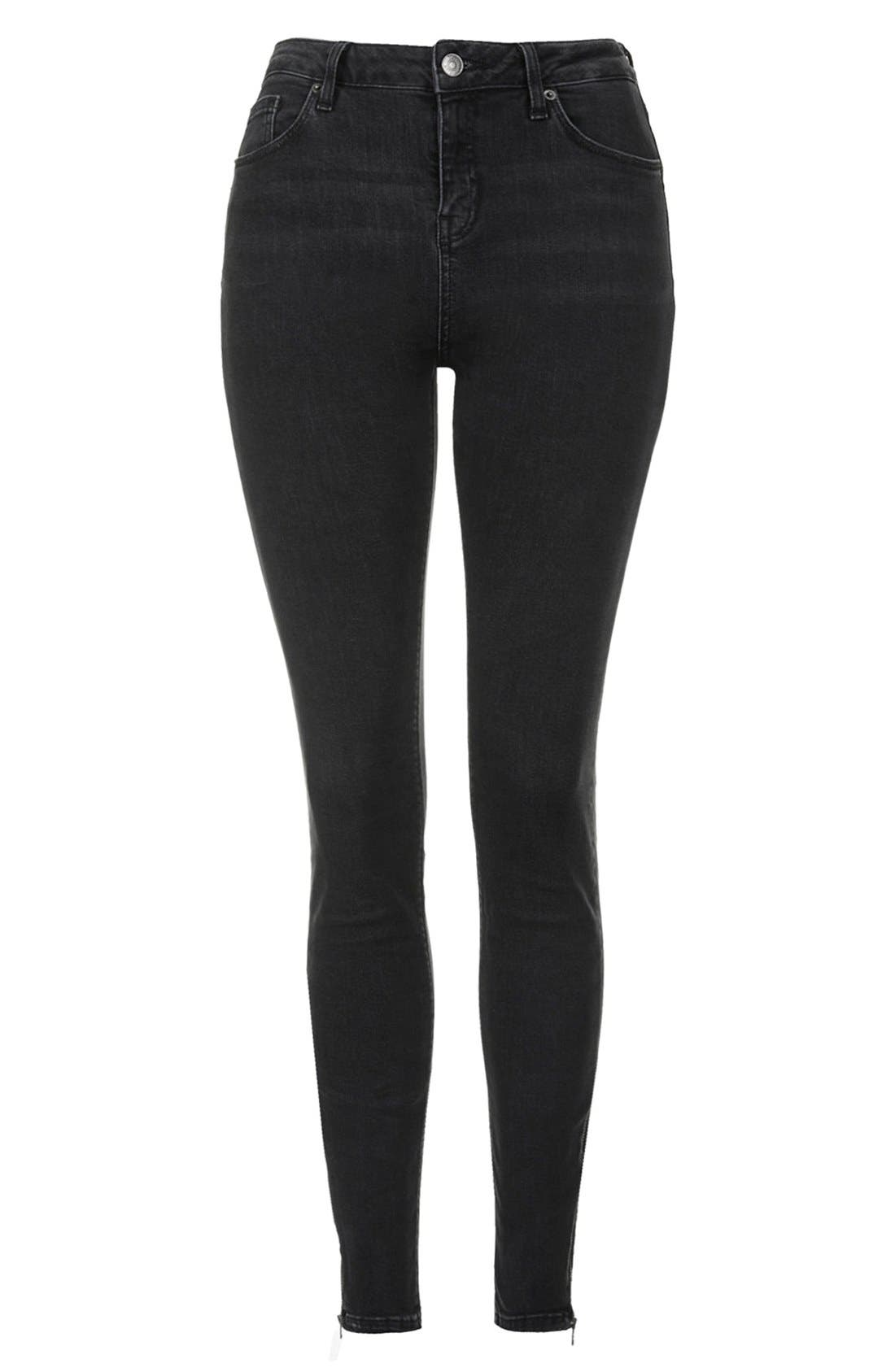 Moto 'Jamie' Zip Ankle Skinny Jeans,                             Alternate thumbnail 9, color,                             001