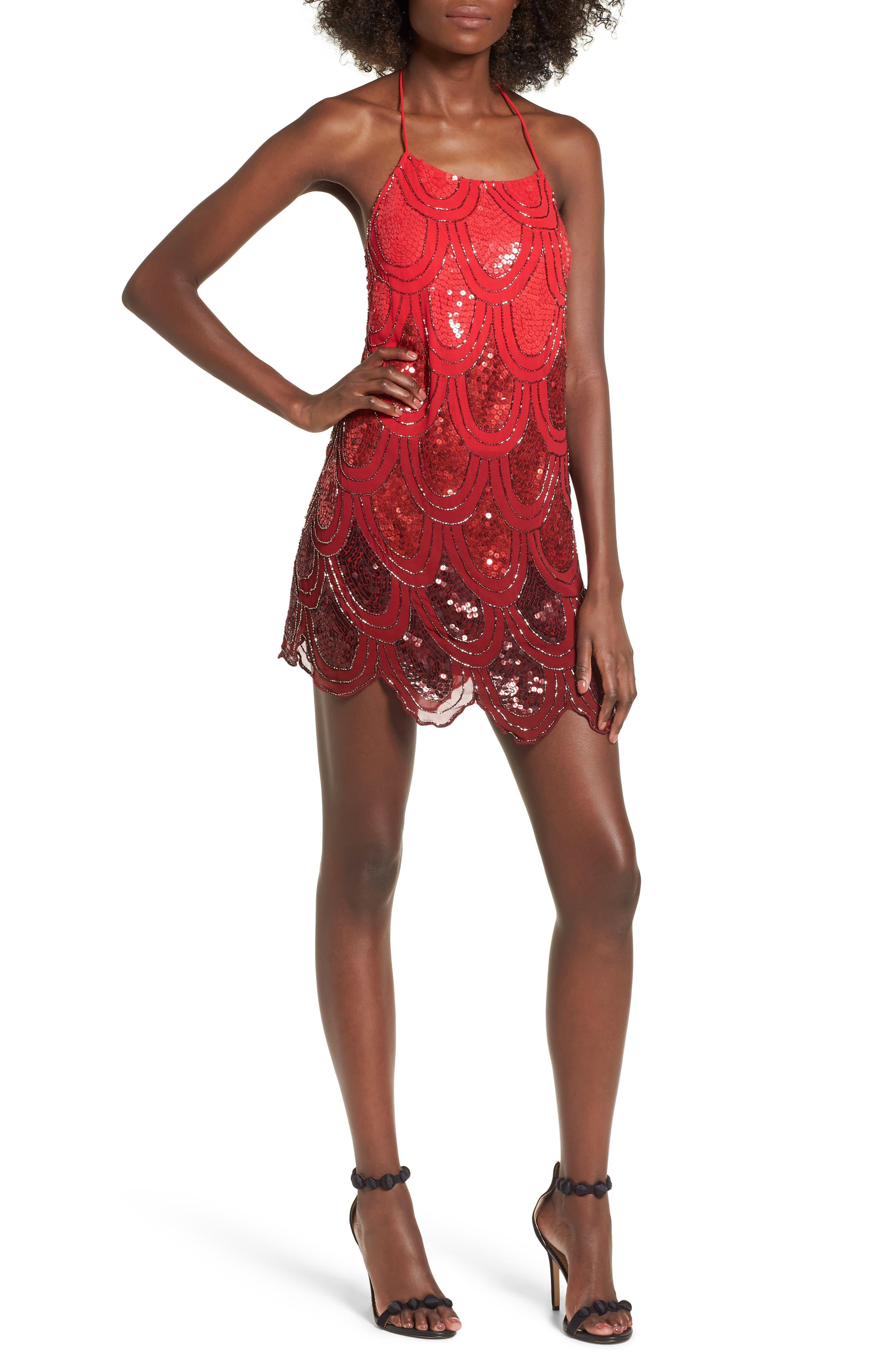 Dame Sequin Minidress,                         Main,                         color, 600