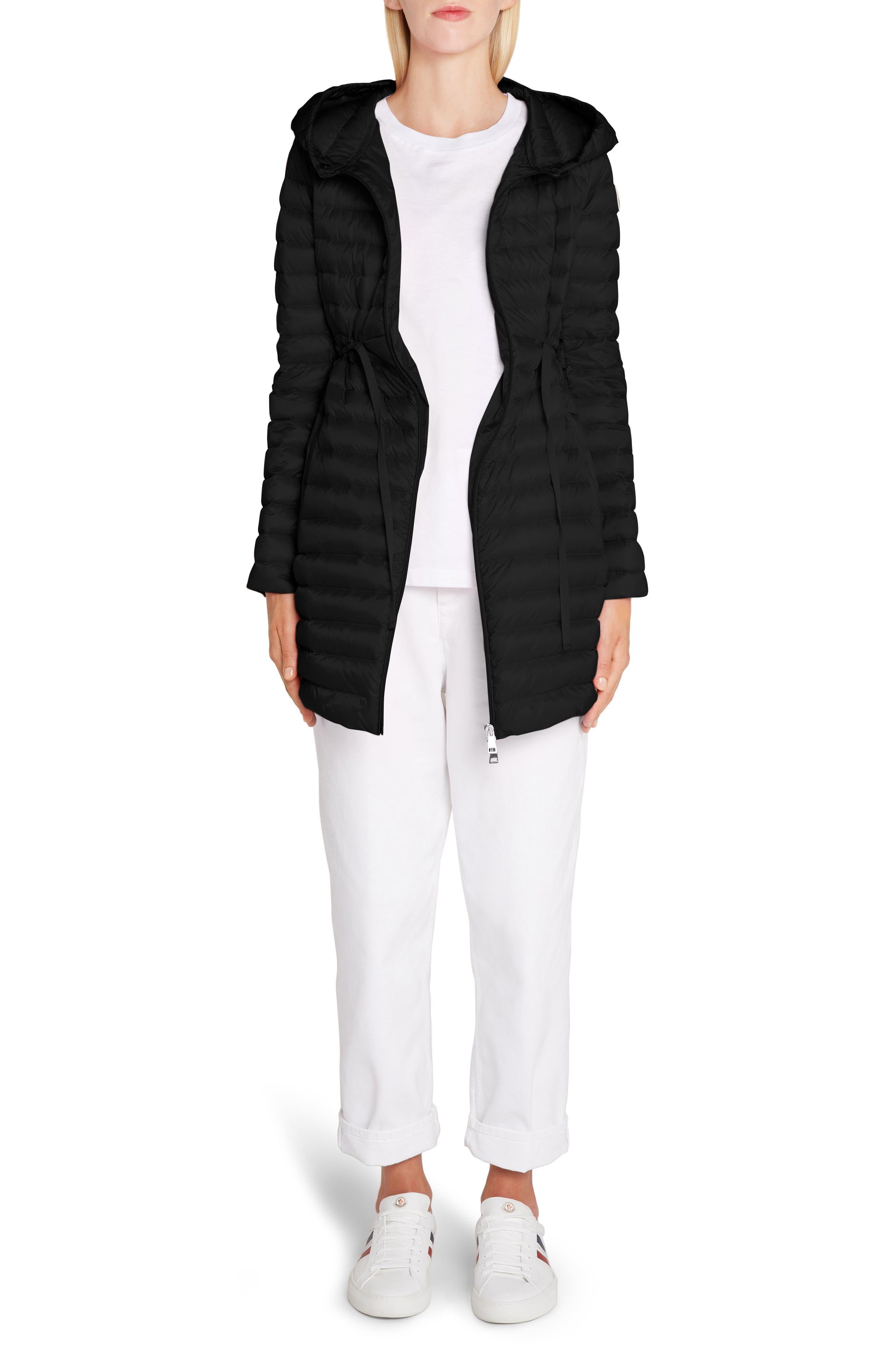 MONCLER,                             Barbel Water Resistant Long Hooded Down Jacket,                             Alternate thumbnail 6, color,                             001