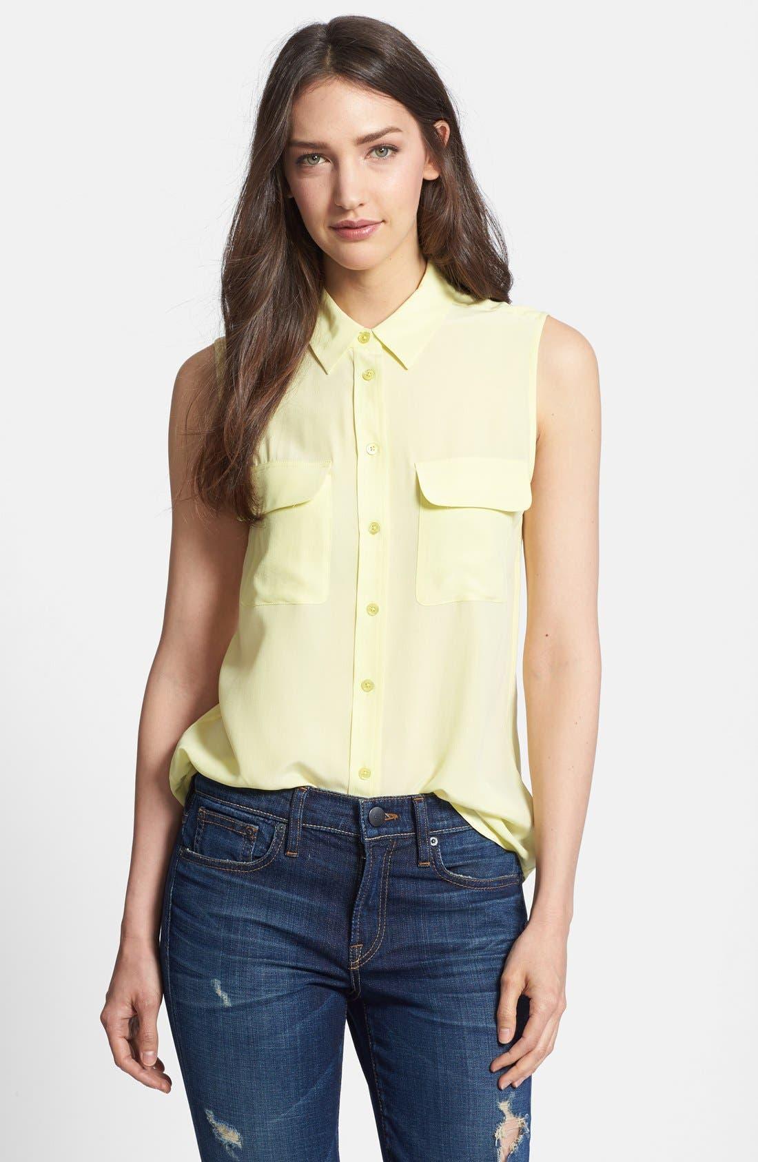 'Slim Signature' Sleeveless Silk Shirt,                             Main thumbnail 45, color,