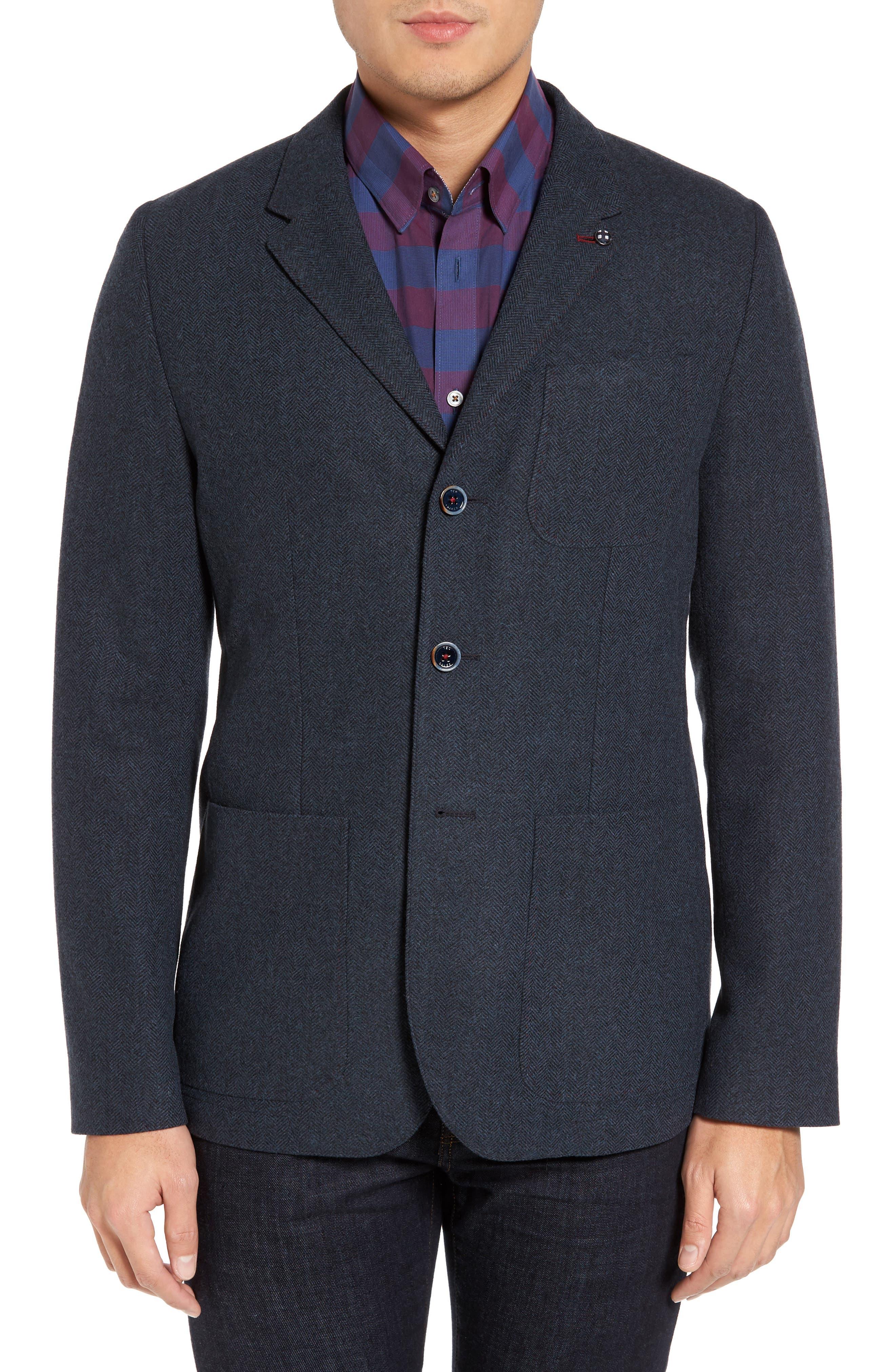 Porter Herringbone Wool Blend Jacket,                             Main thumbnail 1, color,                             410