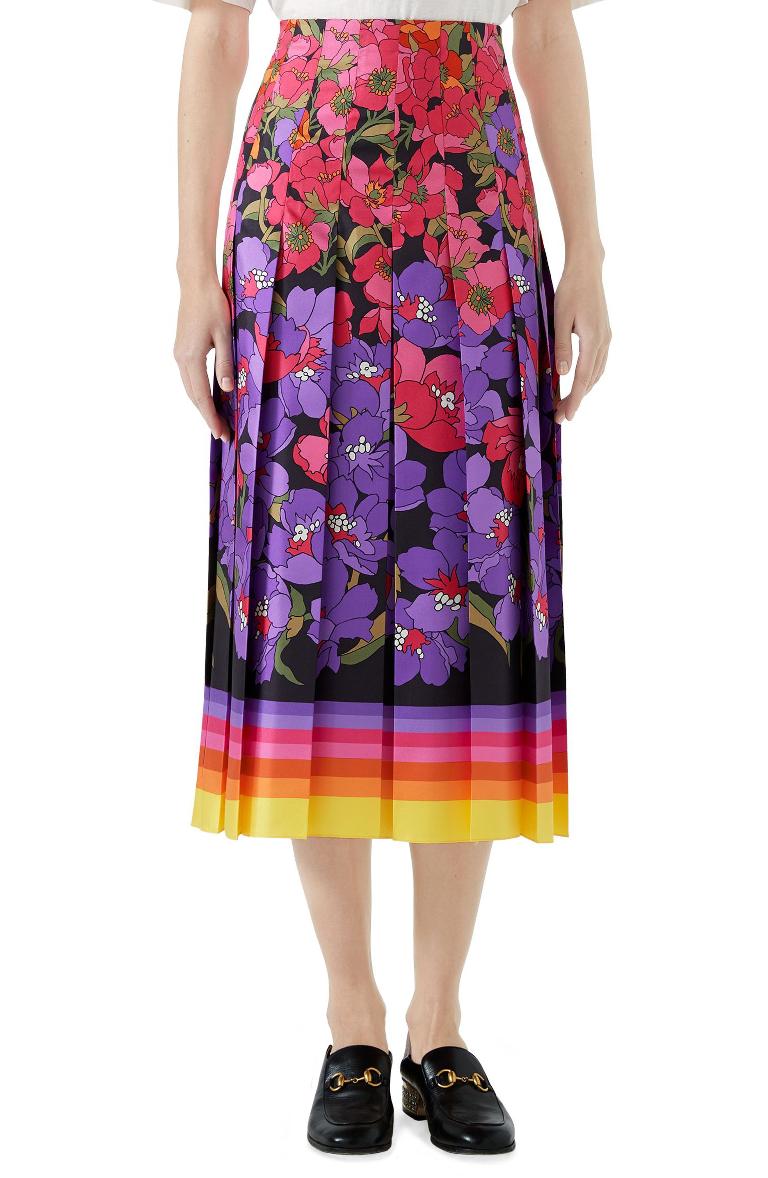 Flower Dégradé Pleated Silk Skirt,                         Main,                         color, BLACK/ PURPLE PRINT
