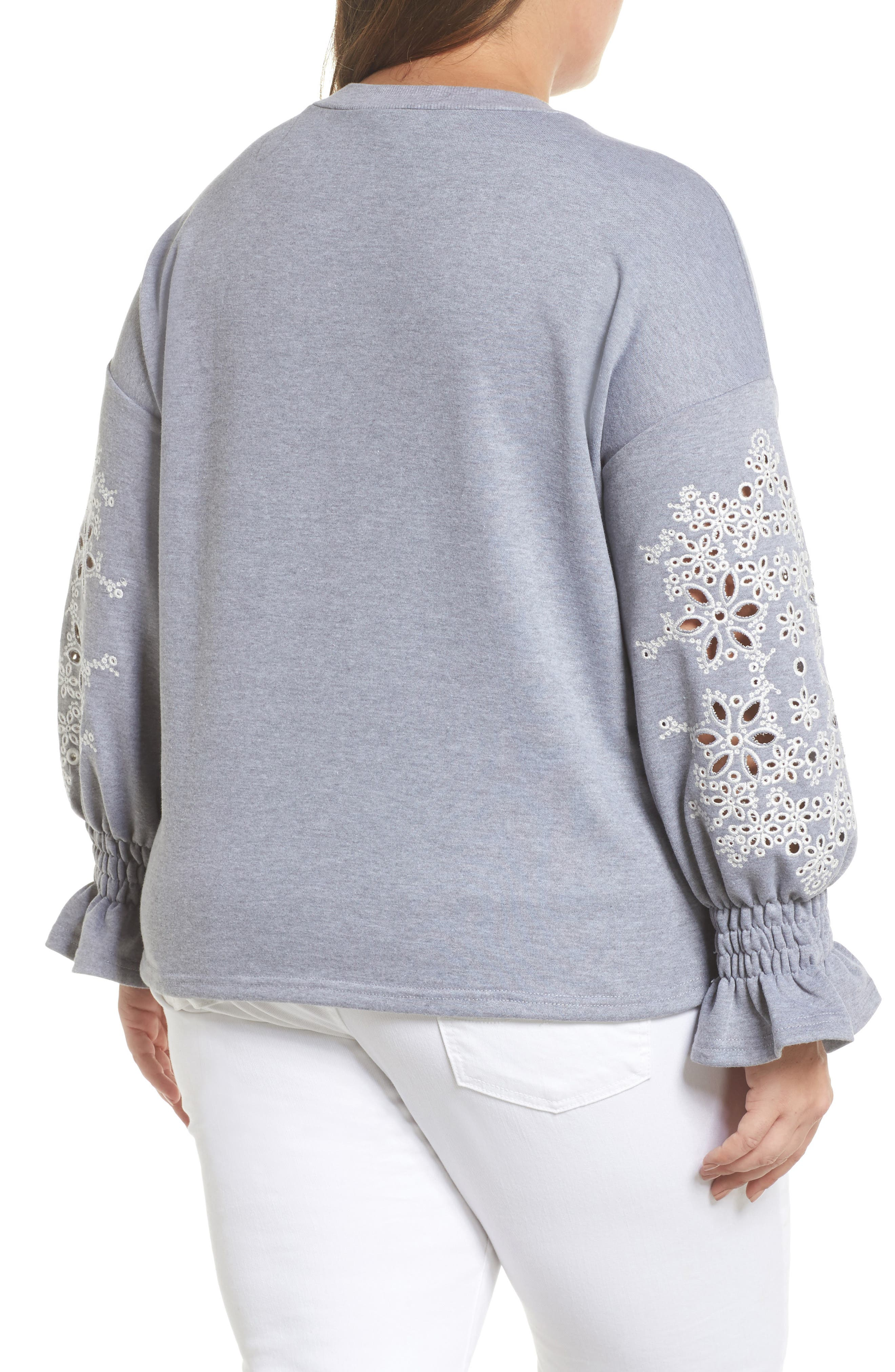 Broderie Anglaise Embellished Sweatshirt,                             Alternate thumbnail 2, color,                             020