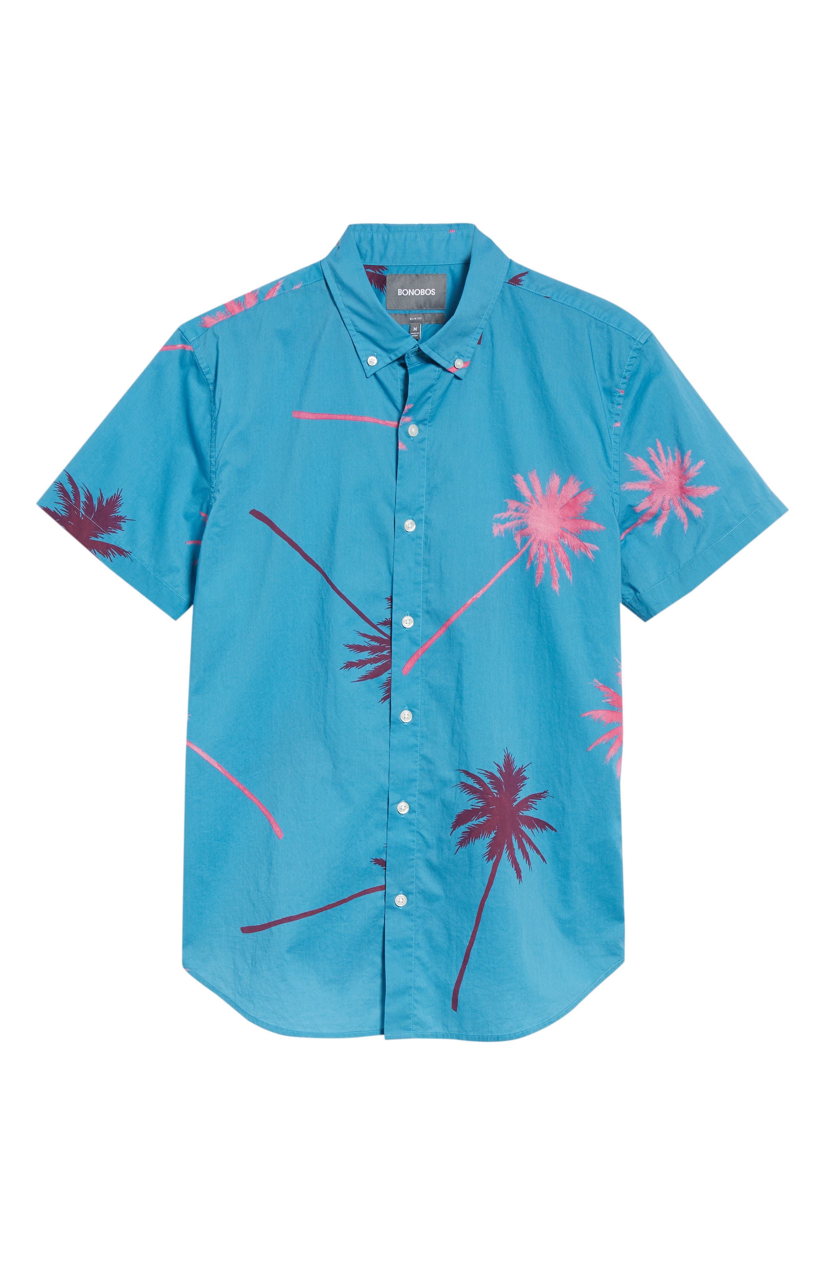 Slim Fit Palm Tree Sport Shirt,                             Alternate thumbnail 6, color,                             400