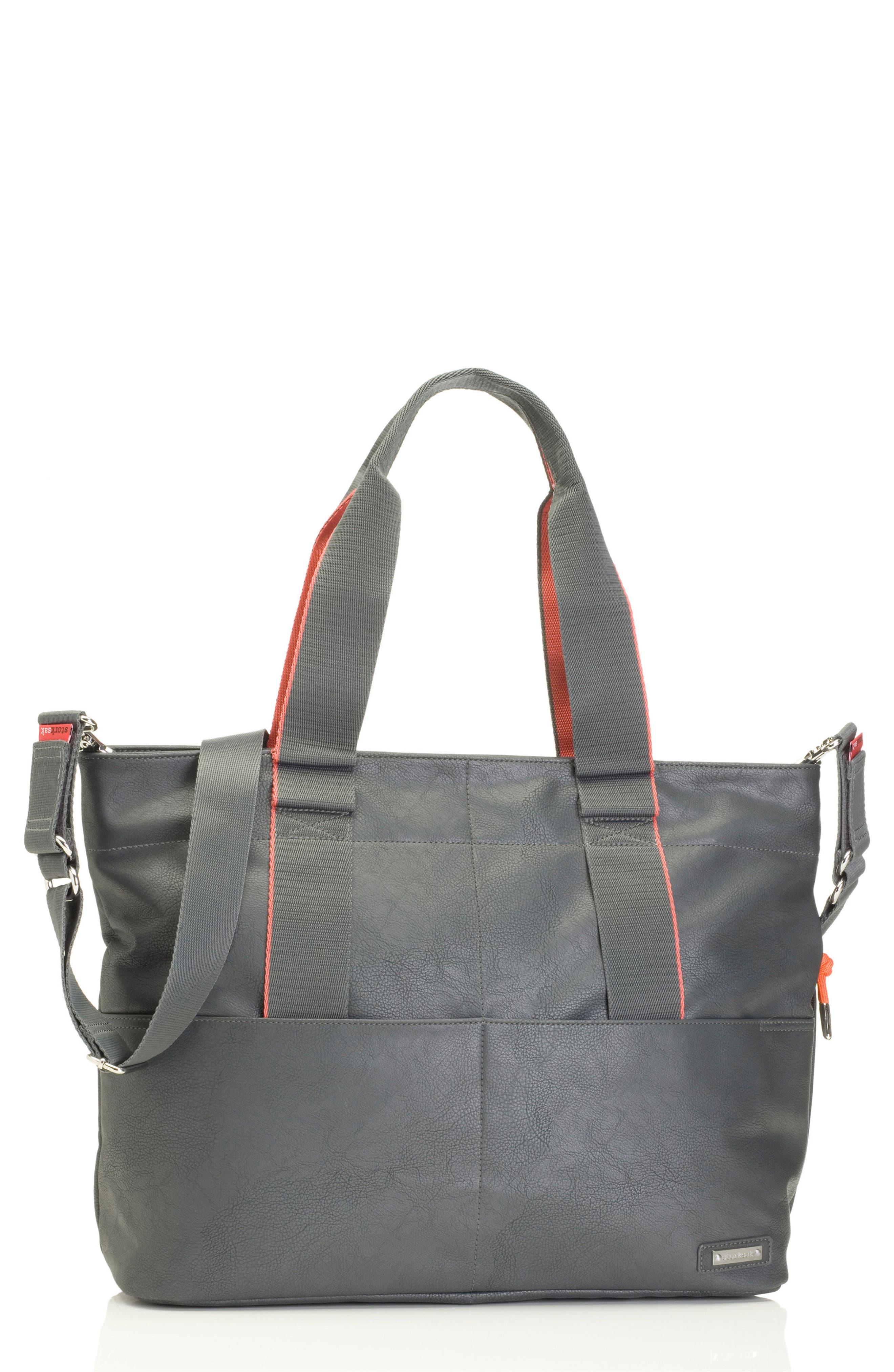 'Eden' Faux Leather Diaper Bag,                             Main thumbnail 1, color,                             GREY