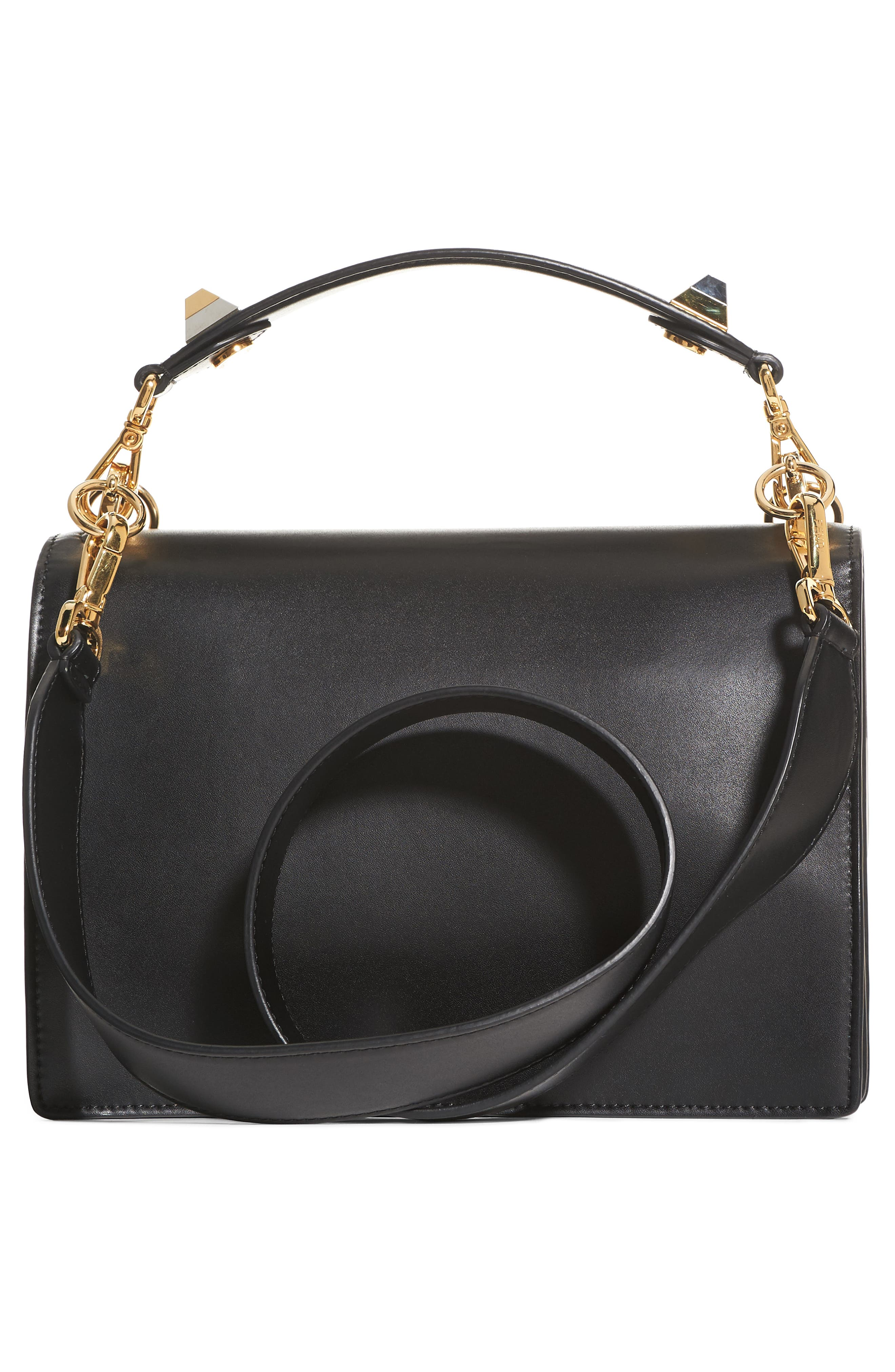 Kan I Monster Calfskin Leather Shoulder Bag,                             Alternate thumbnail 3, color,                             BLACK PALLADIUM