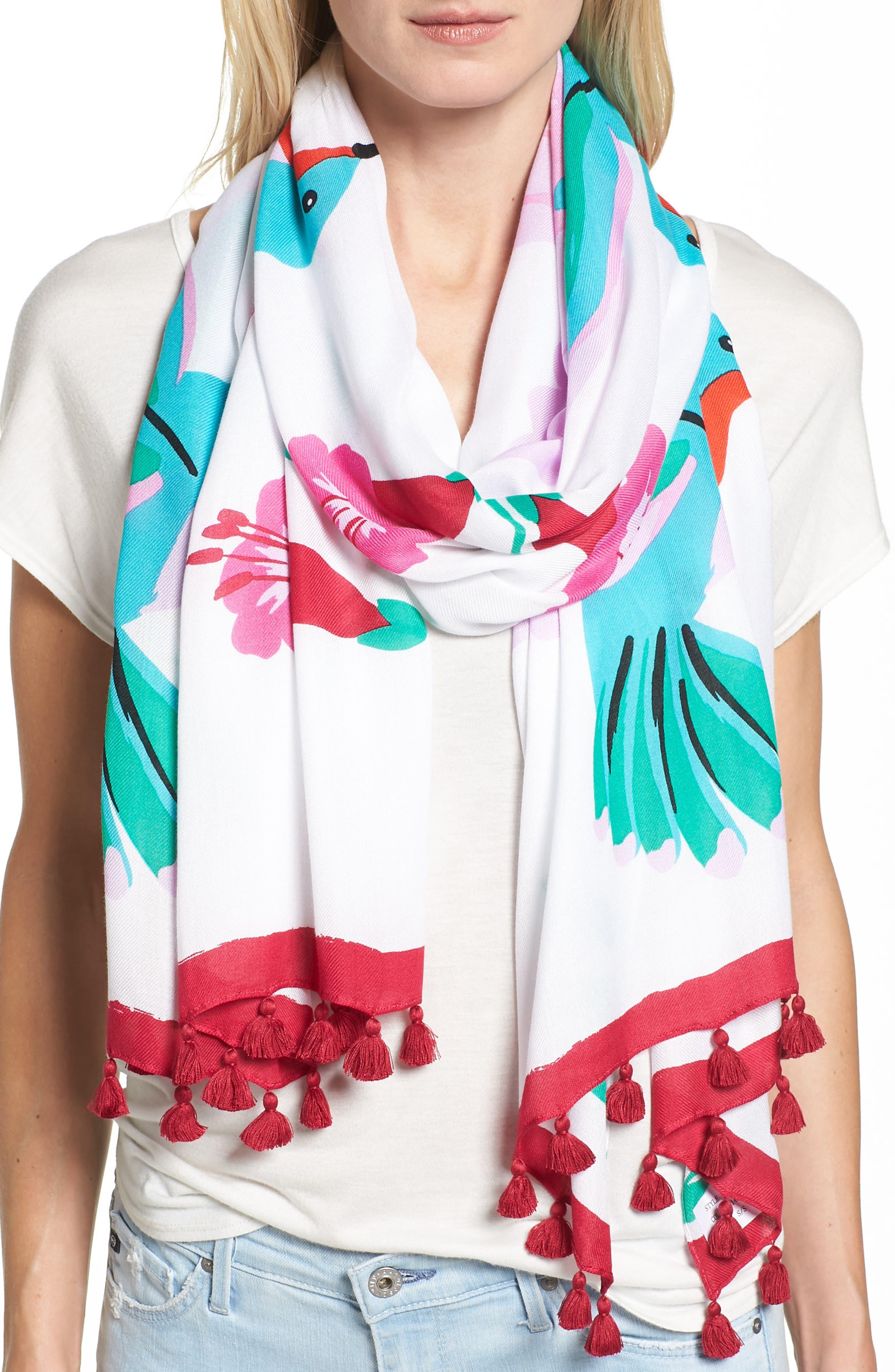 hummingbird oblong scarf,                             Alternate thumbnail 3, color,                             900