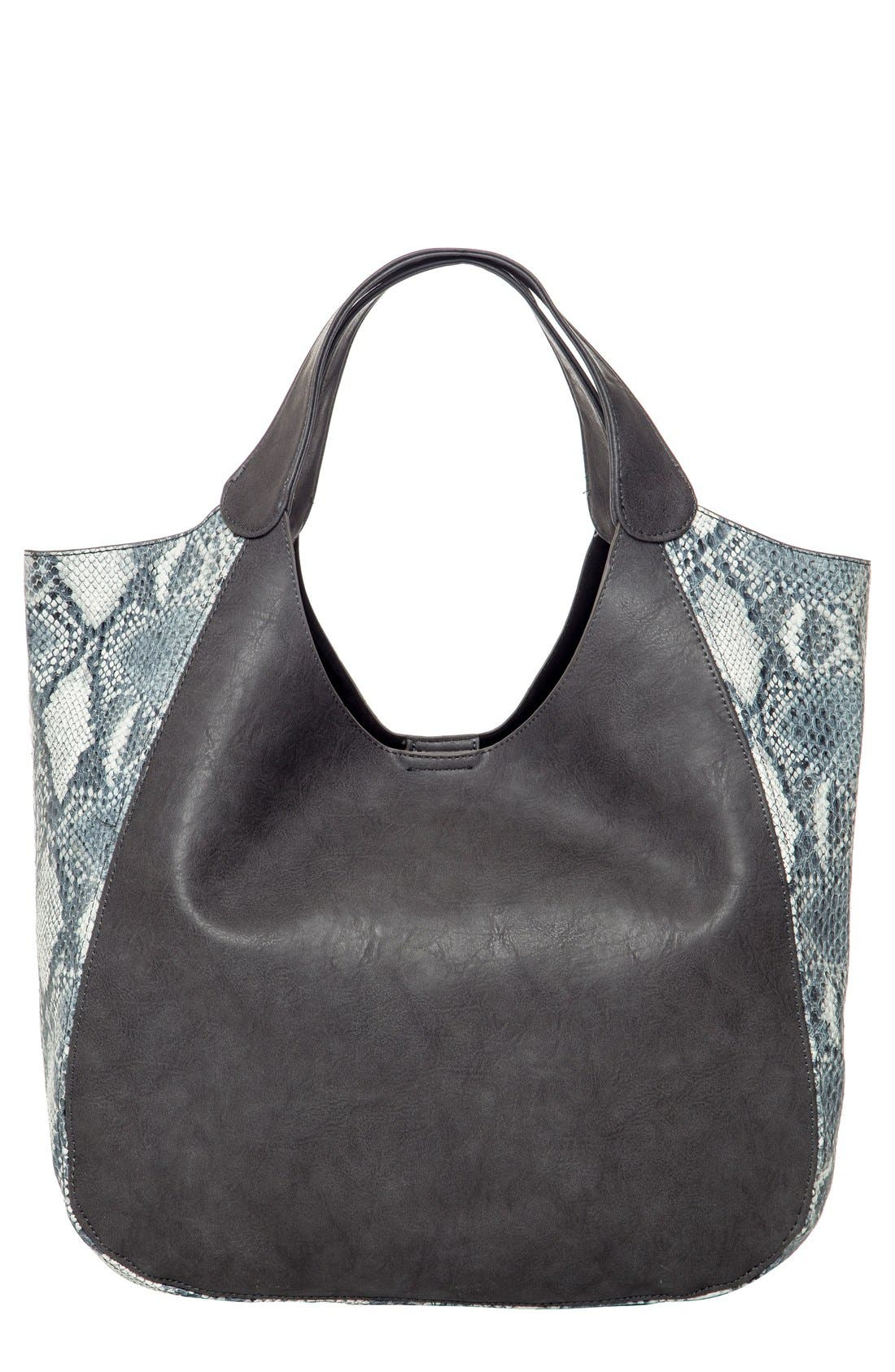 Masterpiece Vegan Leather Tote,                             Main thumbnail 1, color,                             STEEL