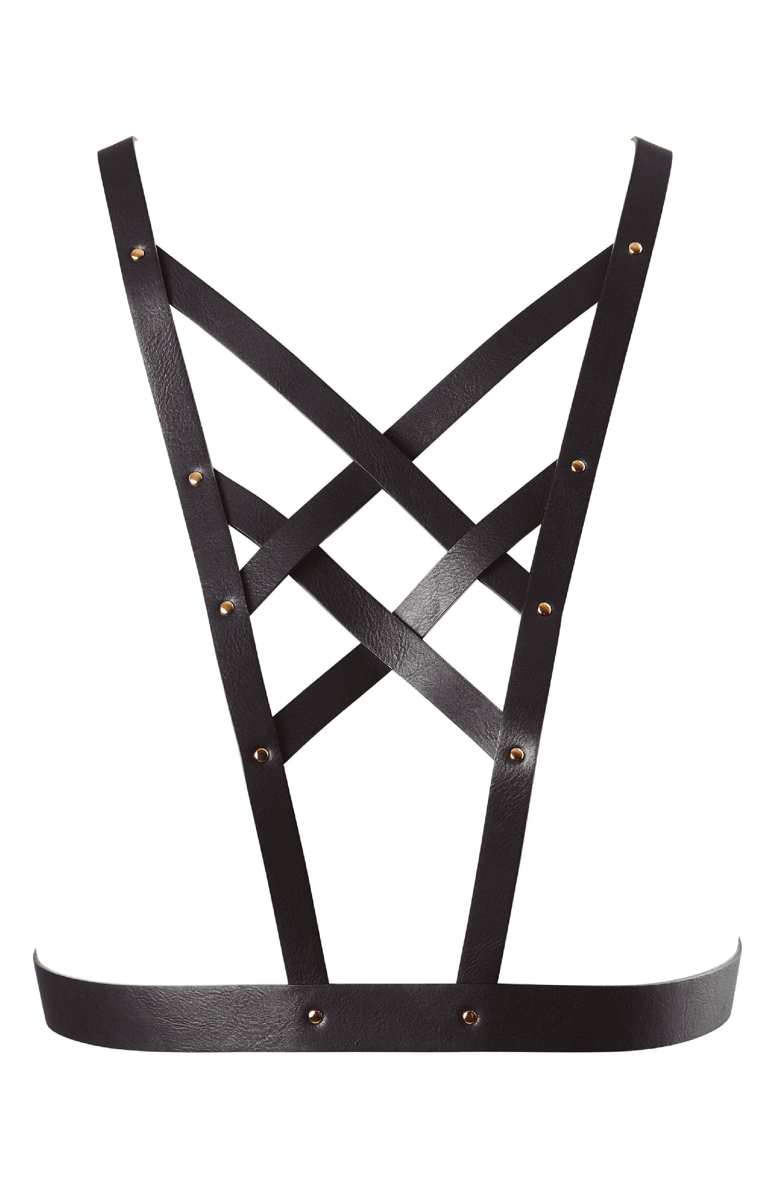 BIJOUX INDISCRETS Maze Cross Front Harness, Main, color, 003