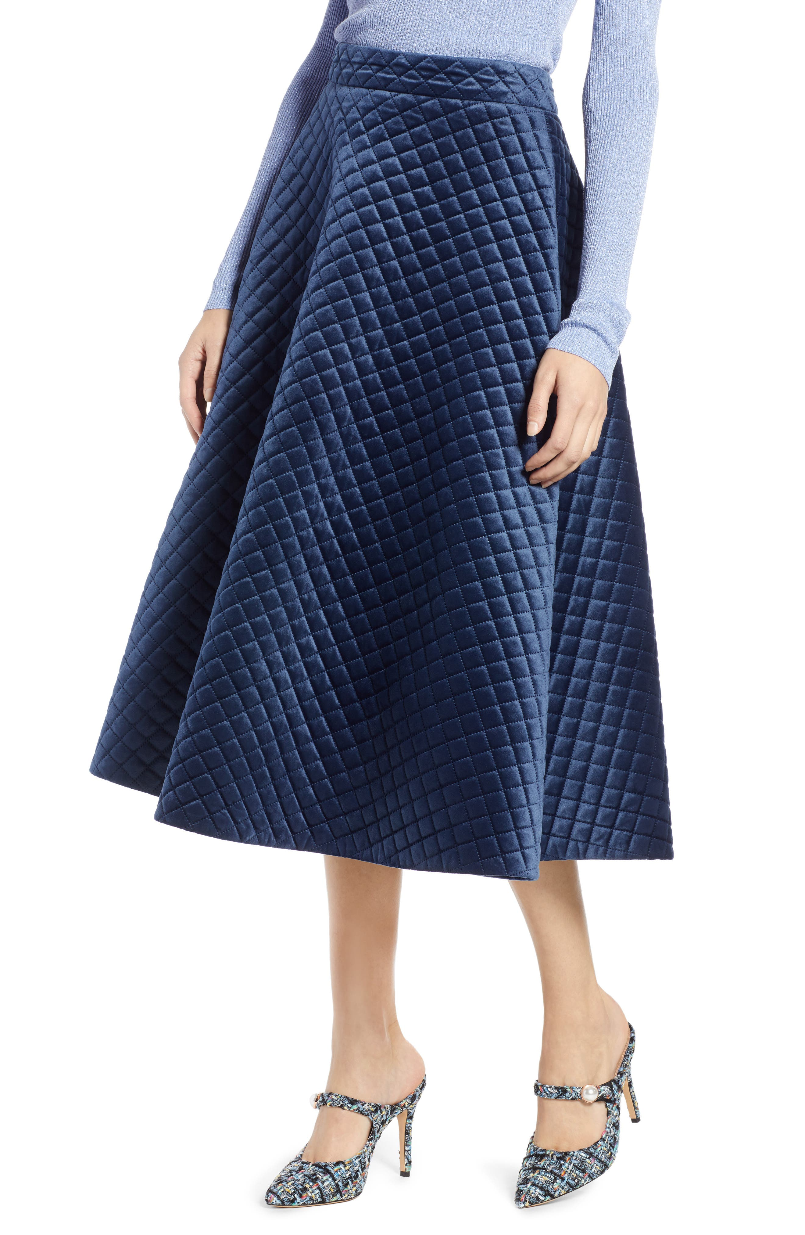 x Atlantic-Pacific Quilted Velour Circle Midi Skirt, Main, color, NAVY BLAZER