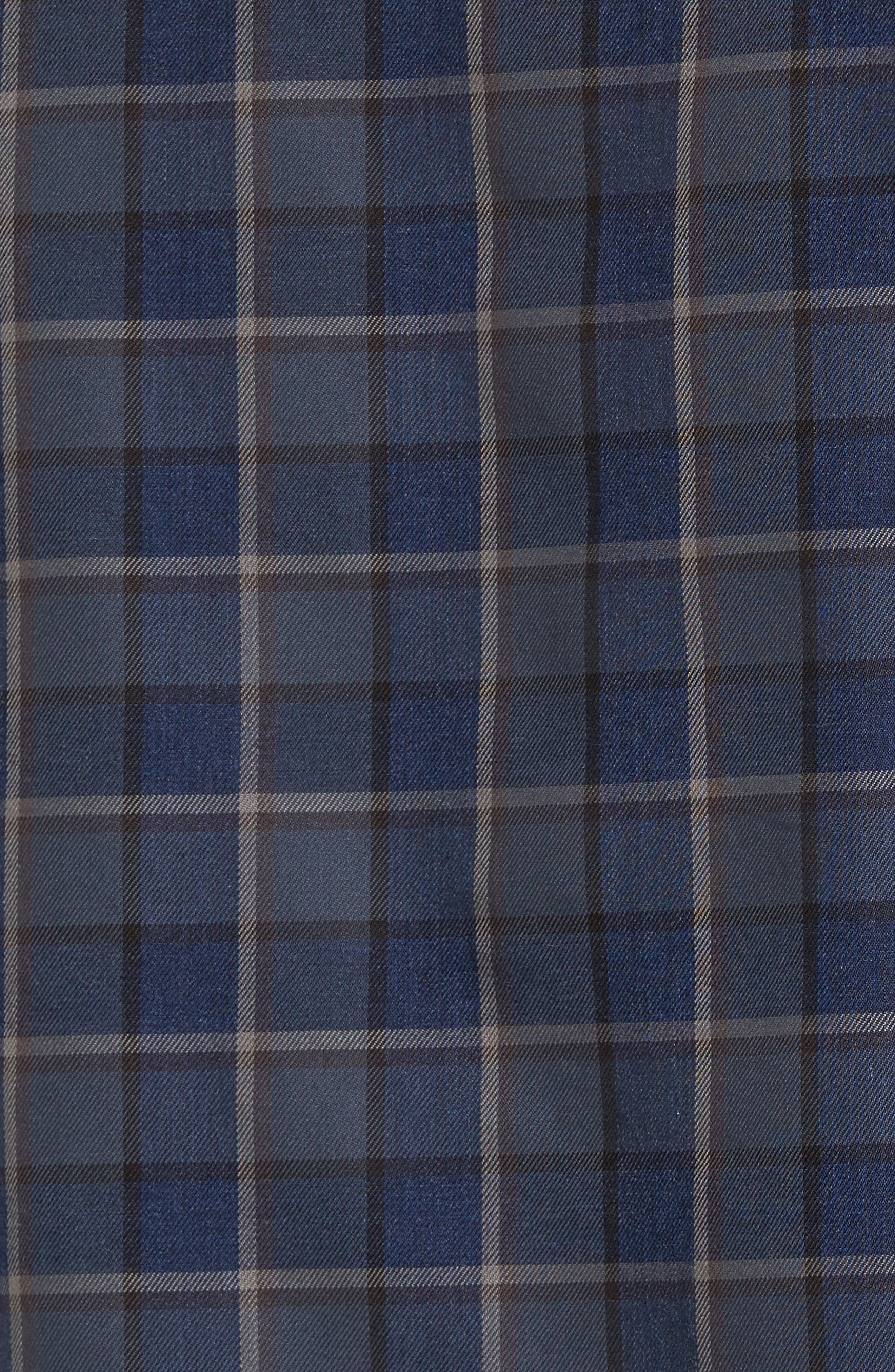 Trim Fit Non-Iron Plaid Sport Shirt,                             Alternate thumbnail 5, color,                             021