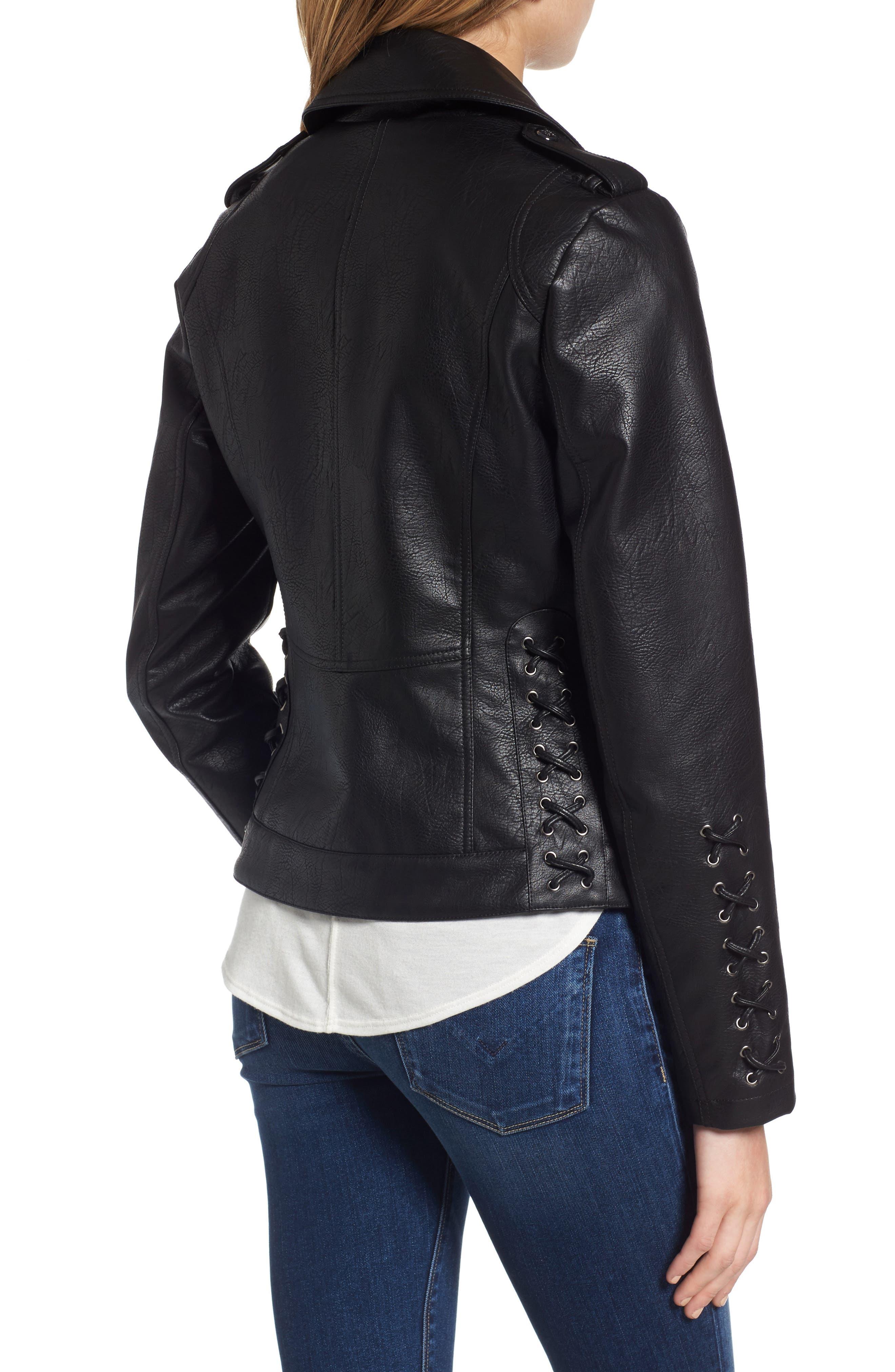 Lace Detail Faux Leather Biker Jacket,                             Alternate thumbnail 2, color,                             001