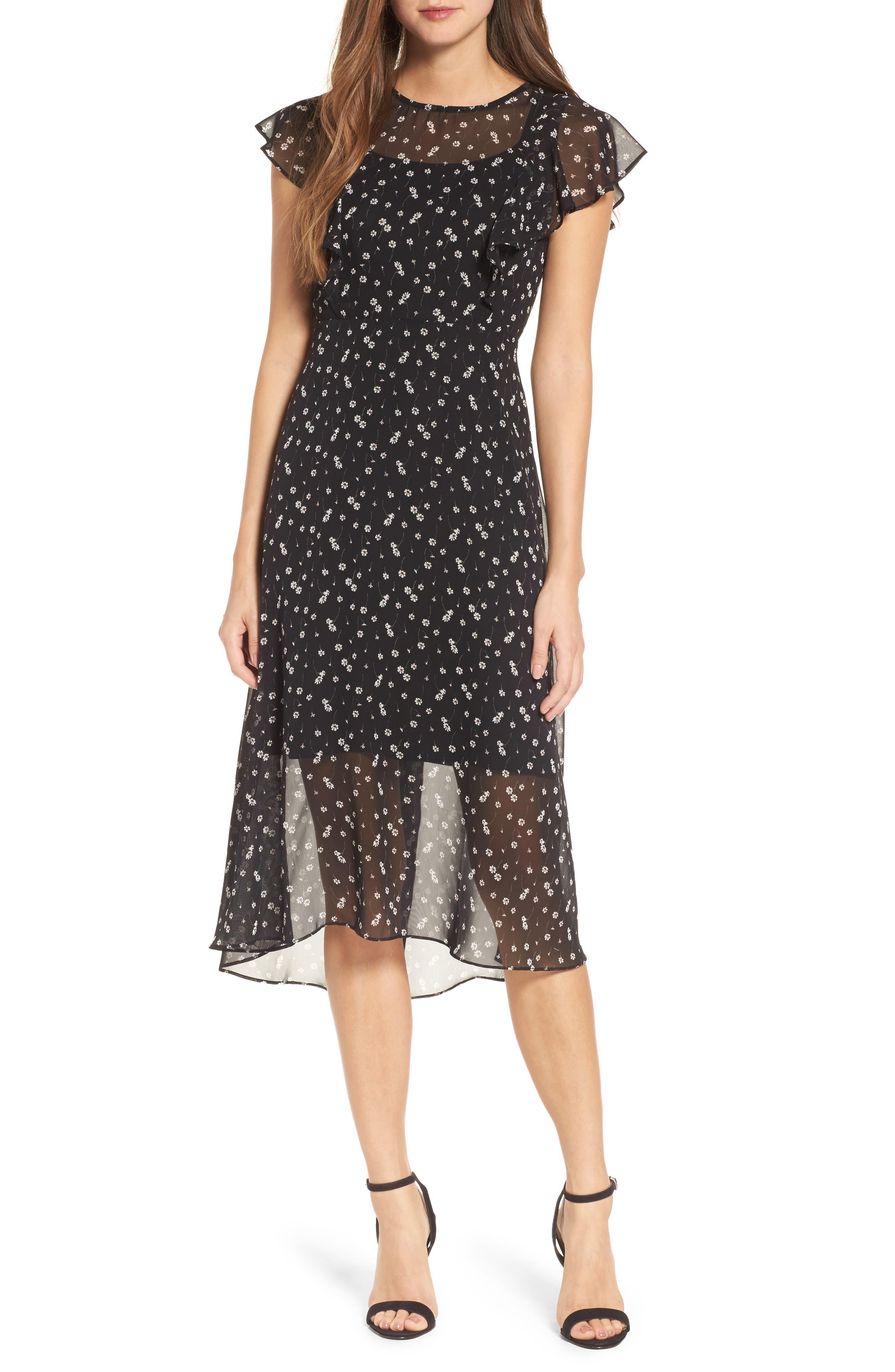 Leona Floral Print Midi Dress,                             Main thumbnail 1, color,