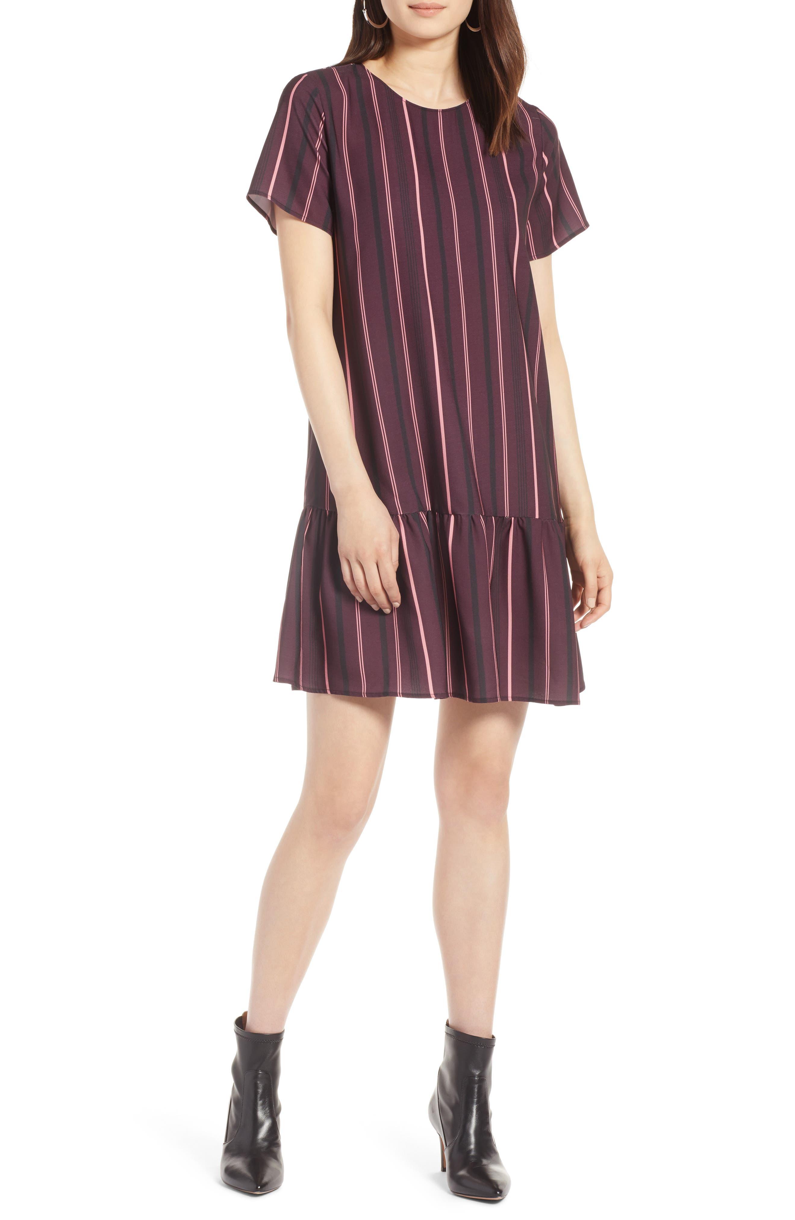 Short Sleeve Ruffle Hem Dress,                             Main thumbnail 7, color,