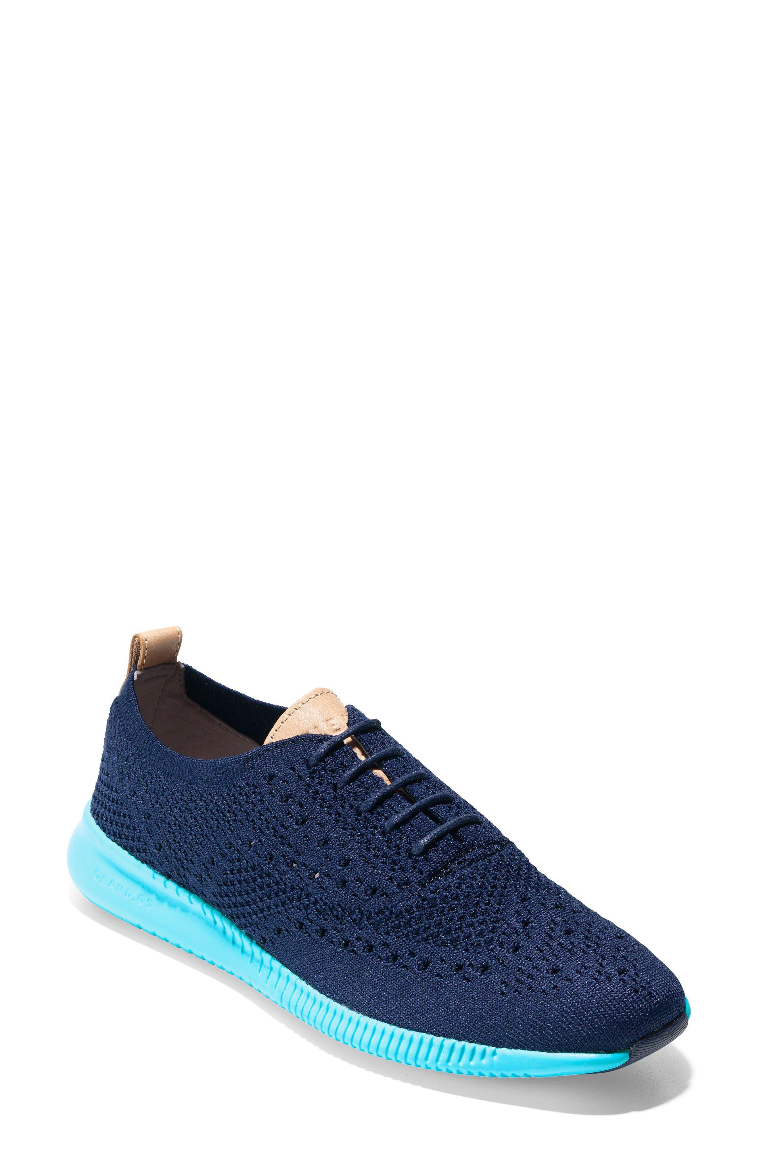 2.ZERØGRAND Stitchlite Wingtip Sneaker,                             Main thumbnail 1, color,                             MARINE BLUE/ BLUEFISH FABRIC