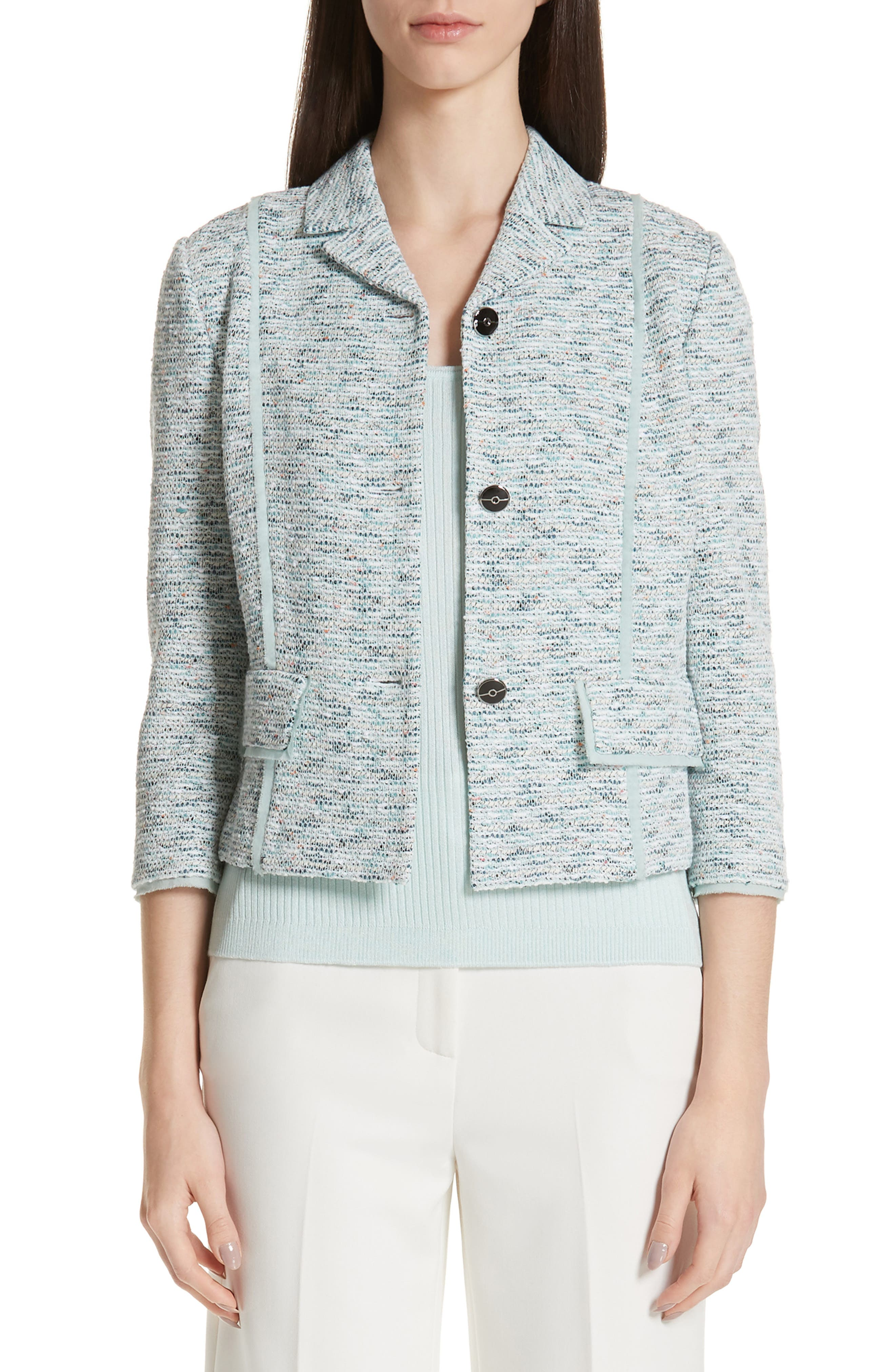 ST. JOHN COLLECTION,                             Alessandra Knit Jacket,                             Main thumbnail 1, color,                             OPAL MULTI