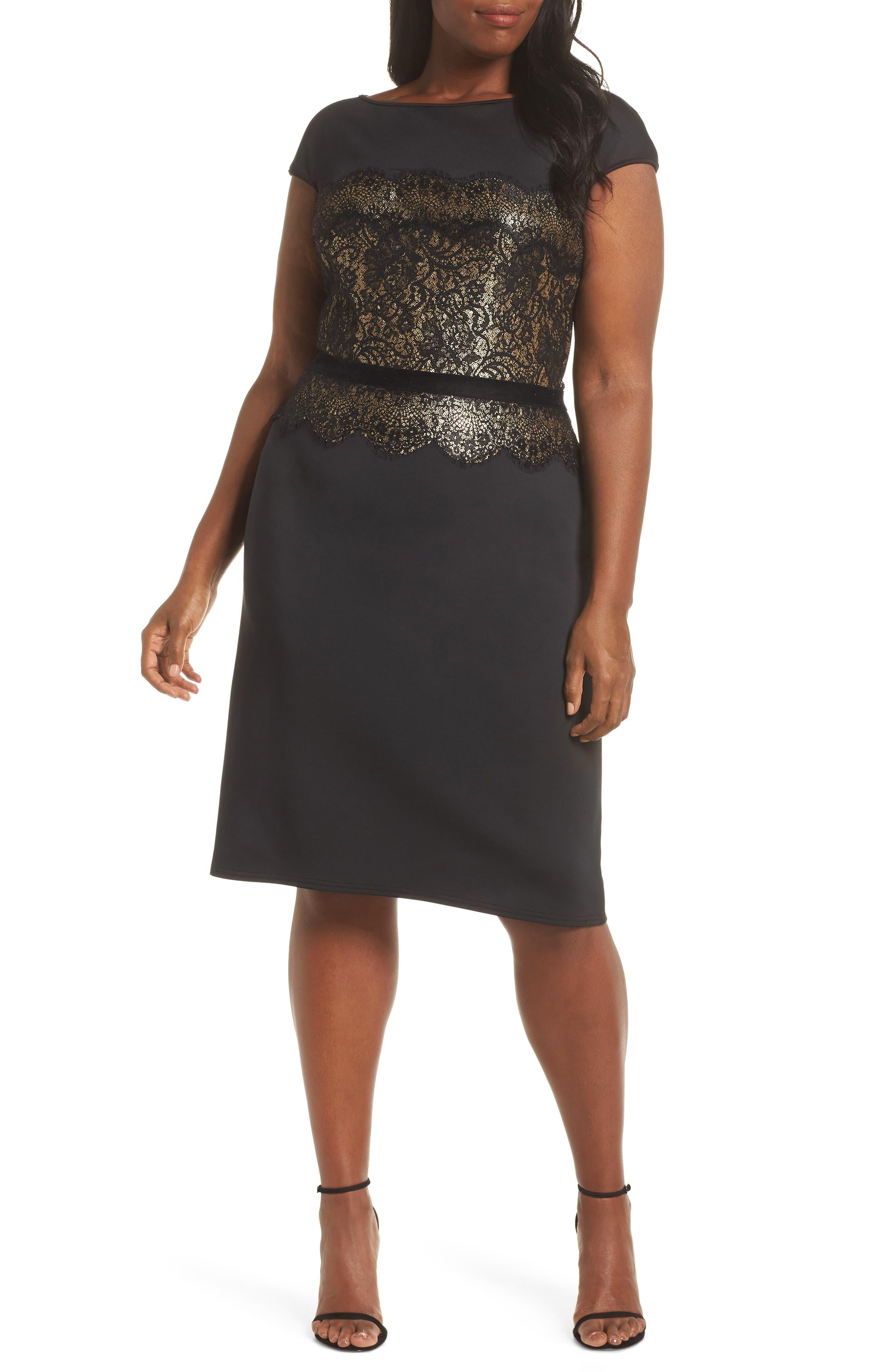 Lace Inset Scuba Dress,                             Alternate thumbnail 2, color,                             BLACK/ GOLD