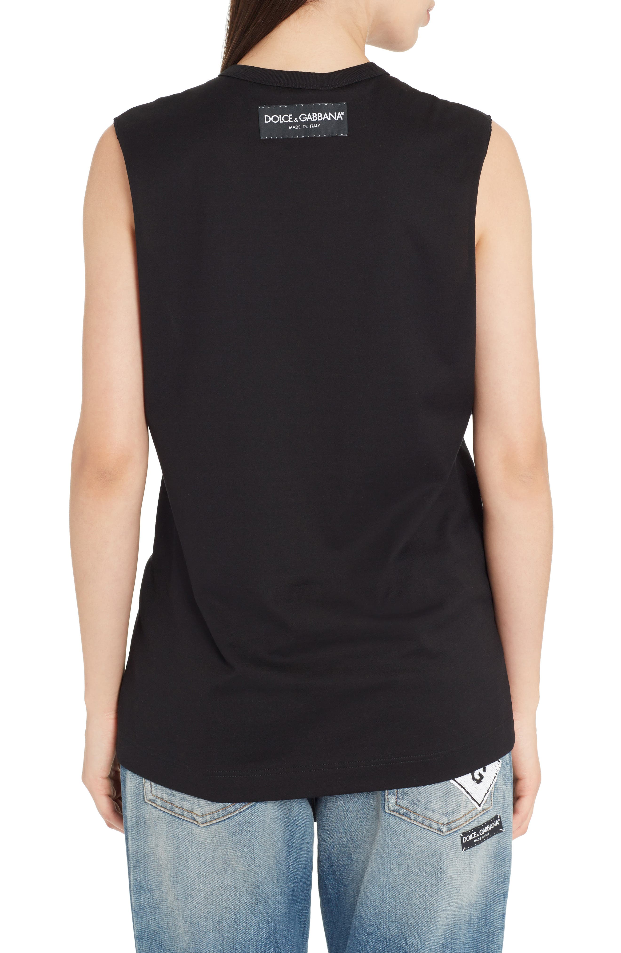Sequin Logo Muscle Tee,                             Alternate thumbnail 2, color,                             001