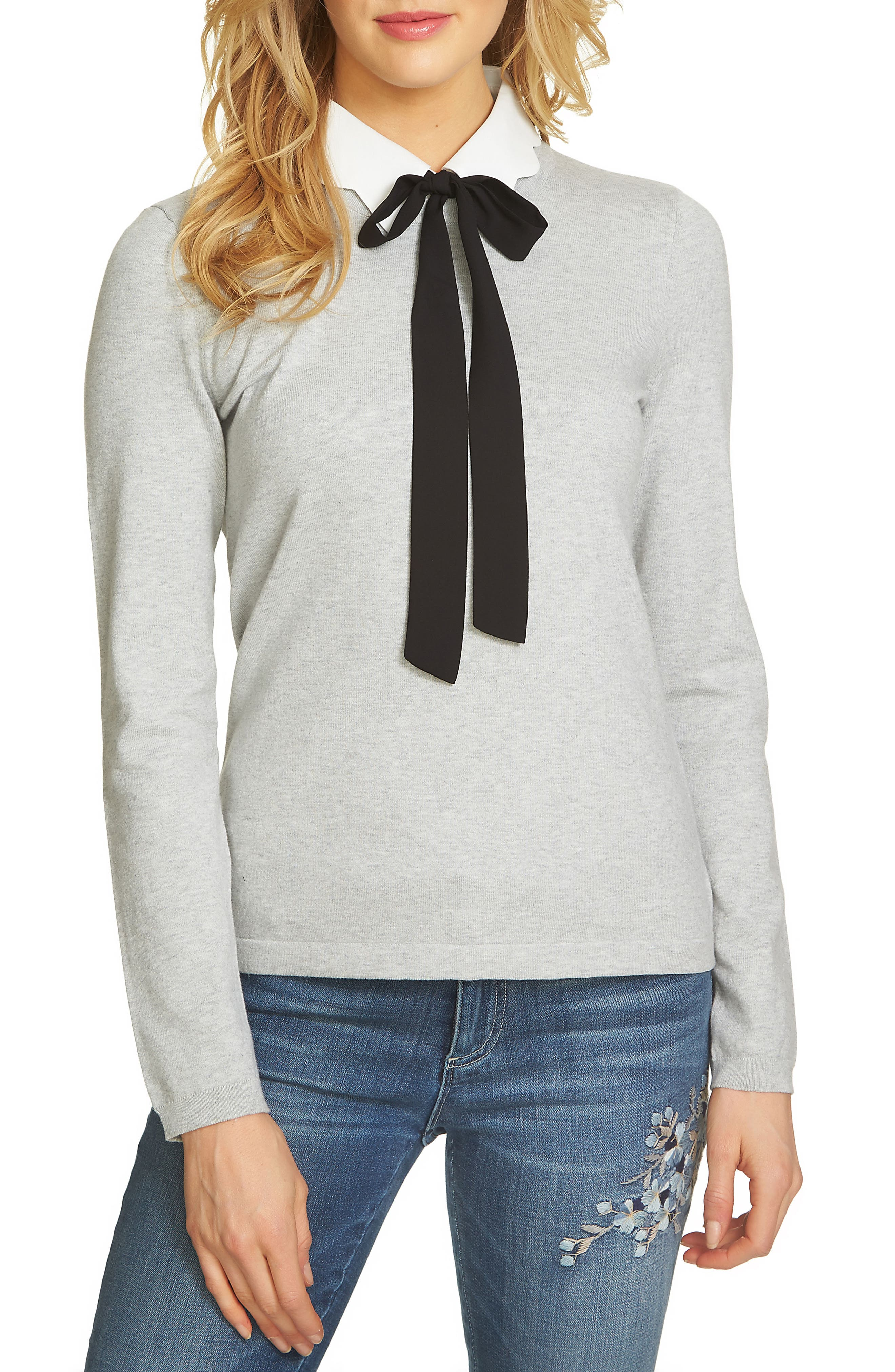 Scalloped Tie Collar Sweater,                             Main thumbnail 1, color,                             050