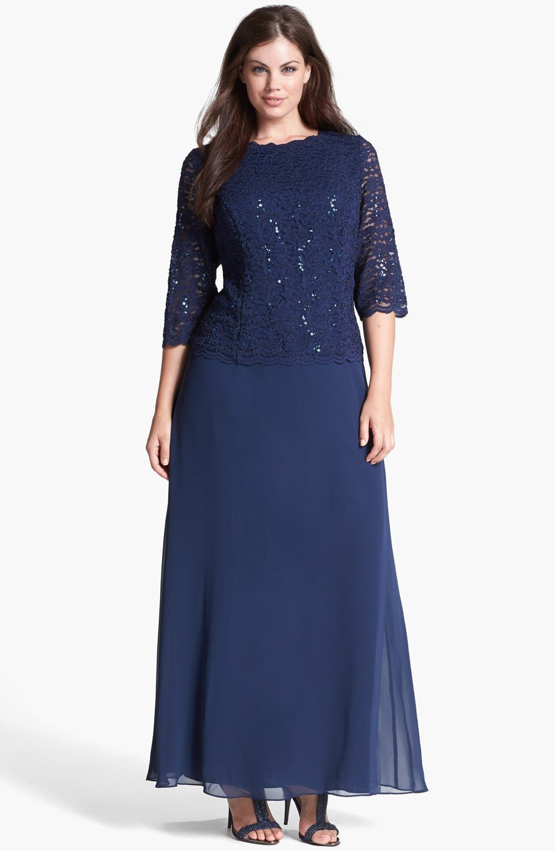 Embellished Lace & Chiffon Gown,                             Main thumbnail 1, color,                             NAVY