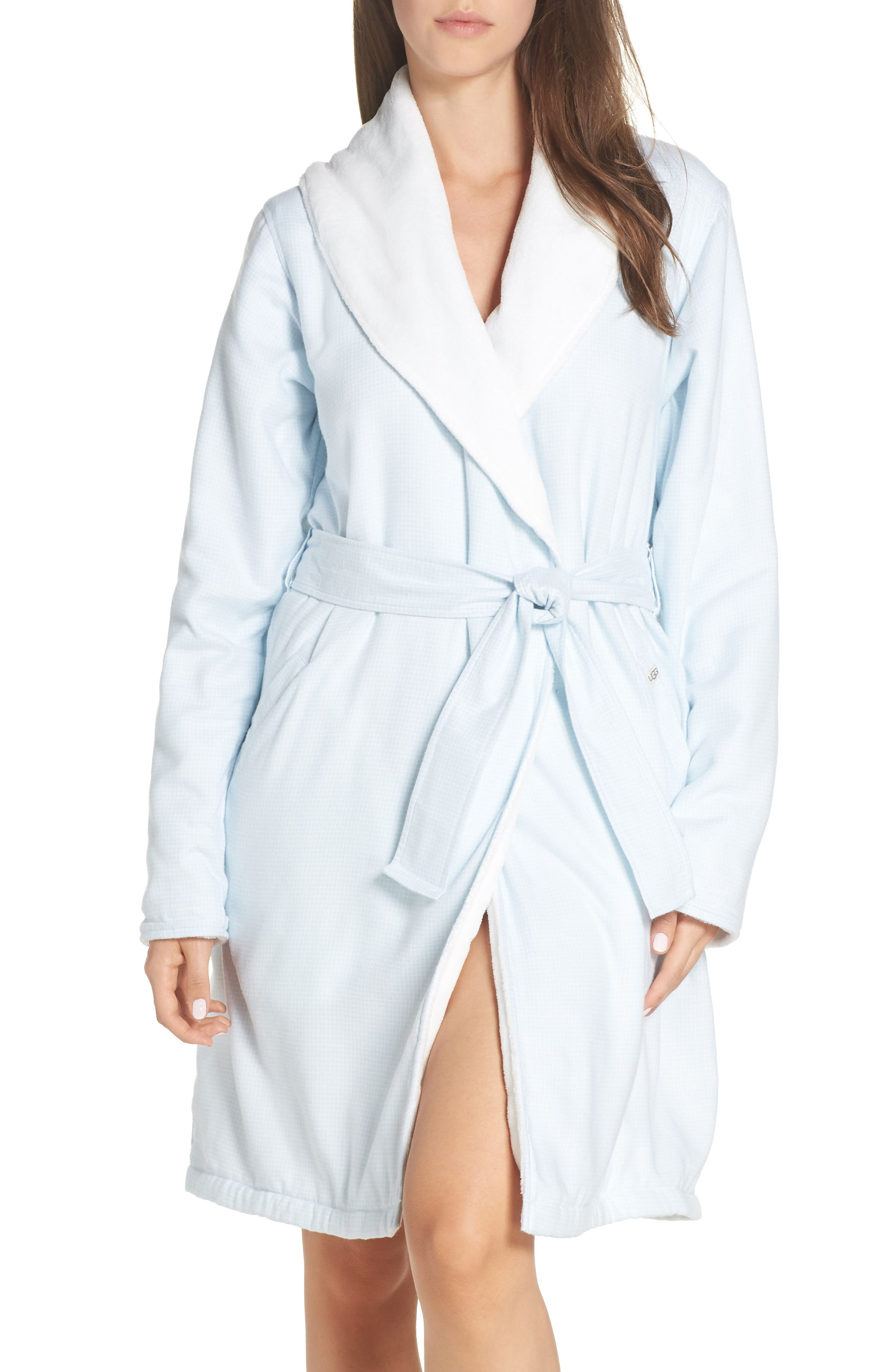 Anika Fleece Lined Flannel Robe,                         Main,                         color, SKY BLUE / WHITE CHECK