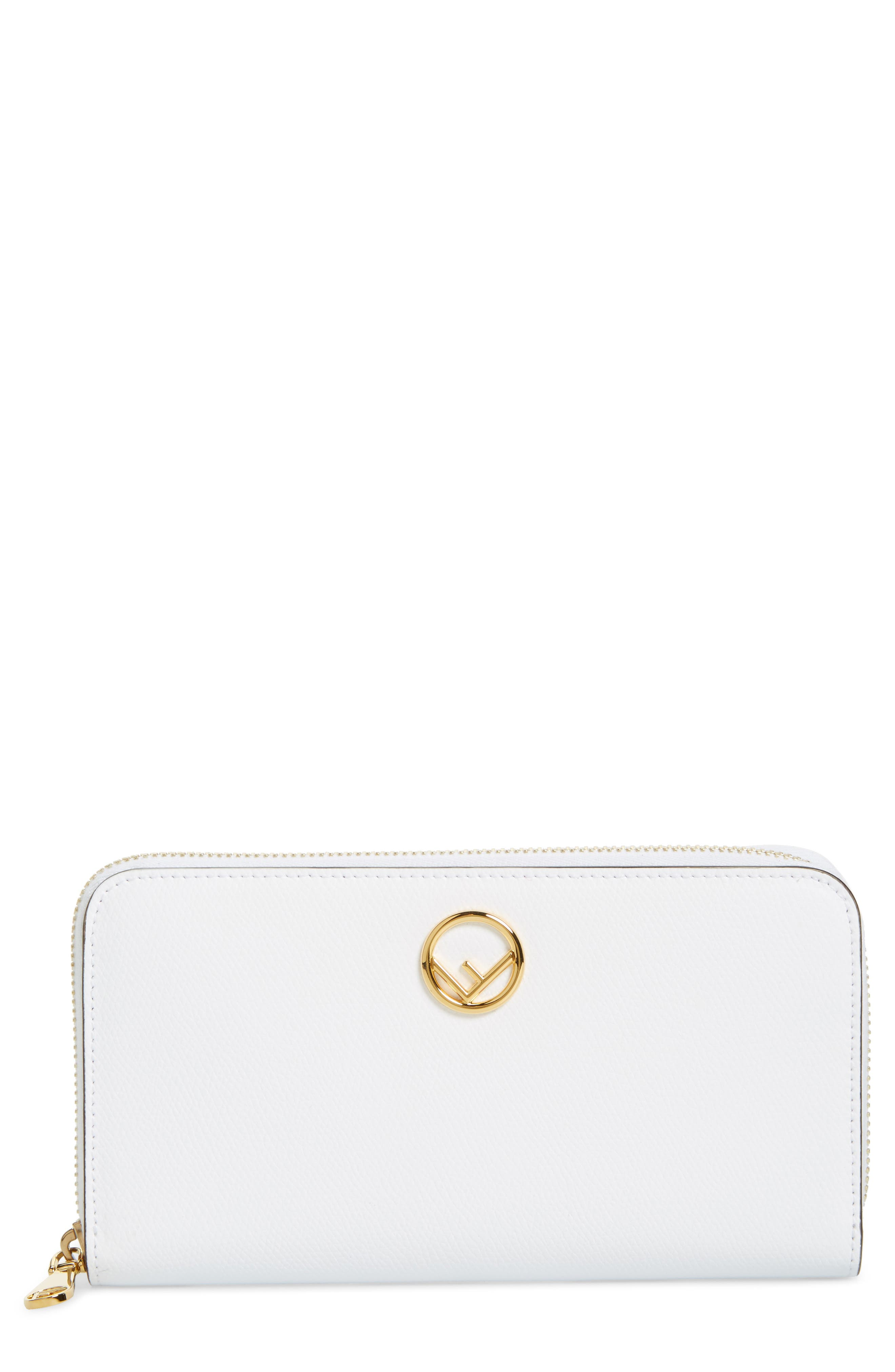 Logo Zip Around Leather Wallet,                         Main,                         color, WHITE
