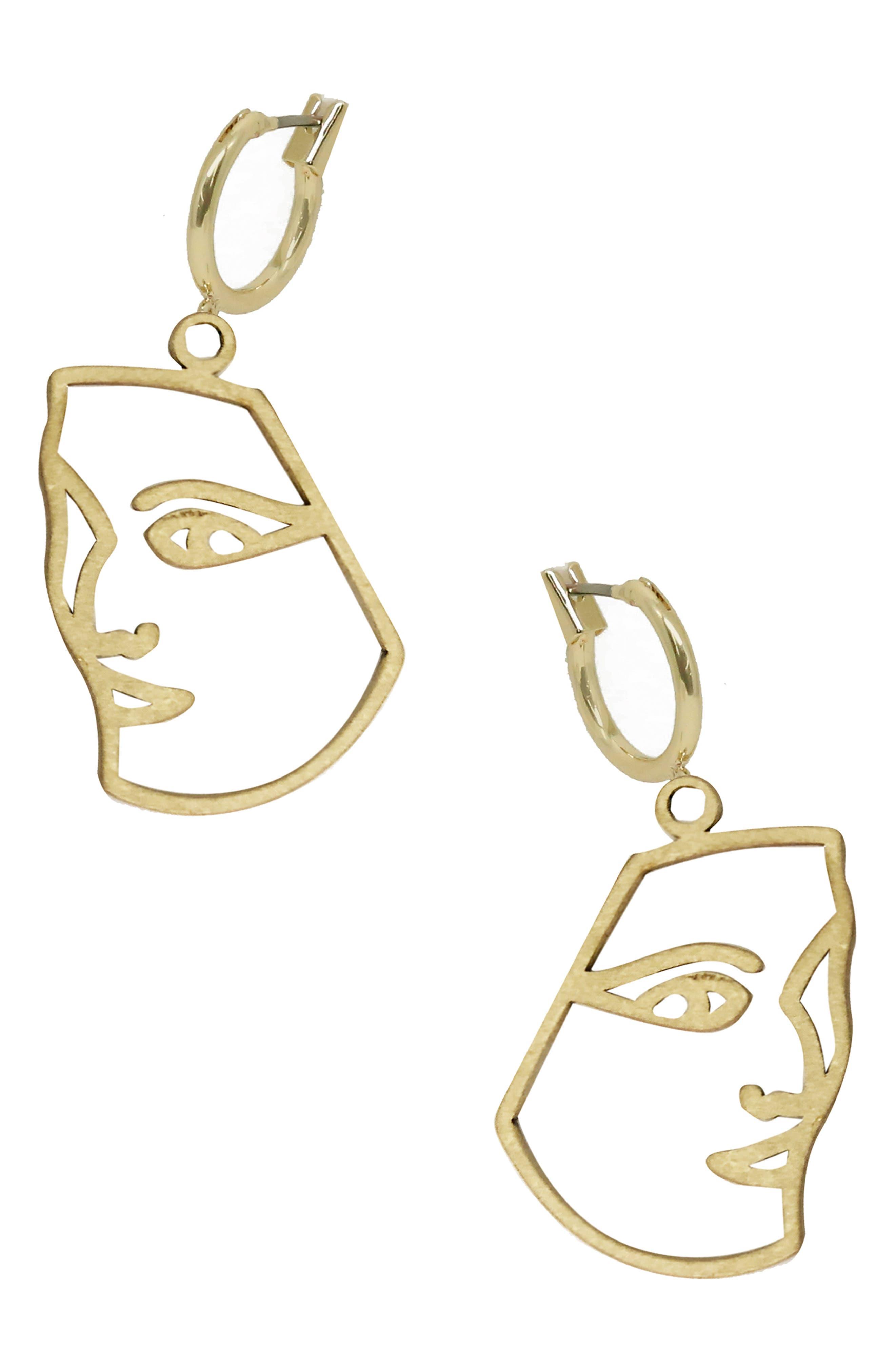 ETTIKA Surrealism Face Drop Earrings in Gold