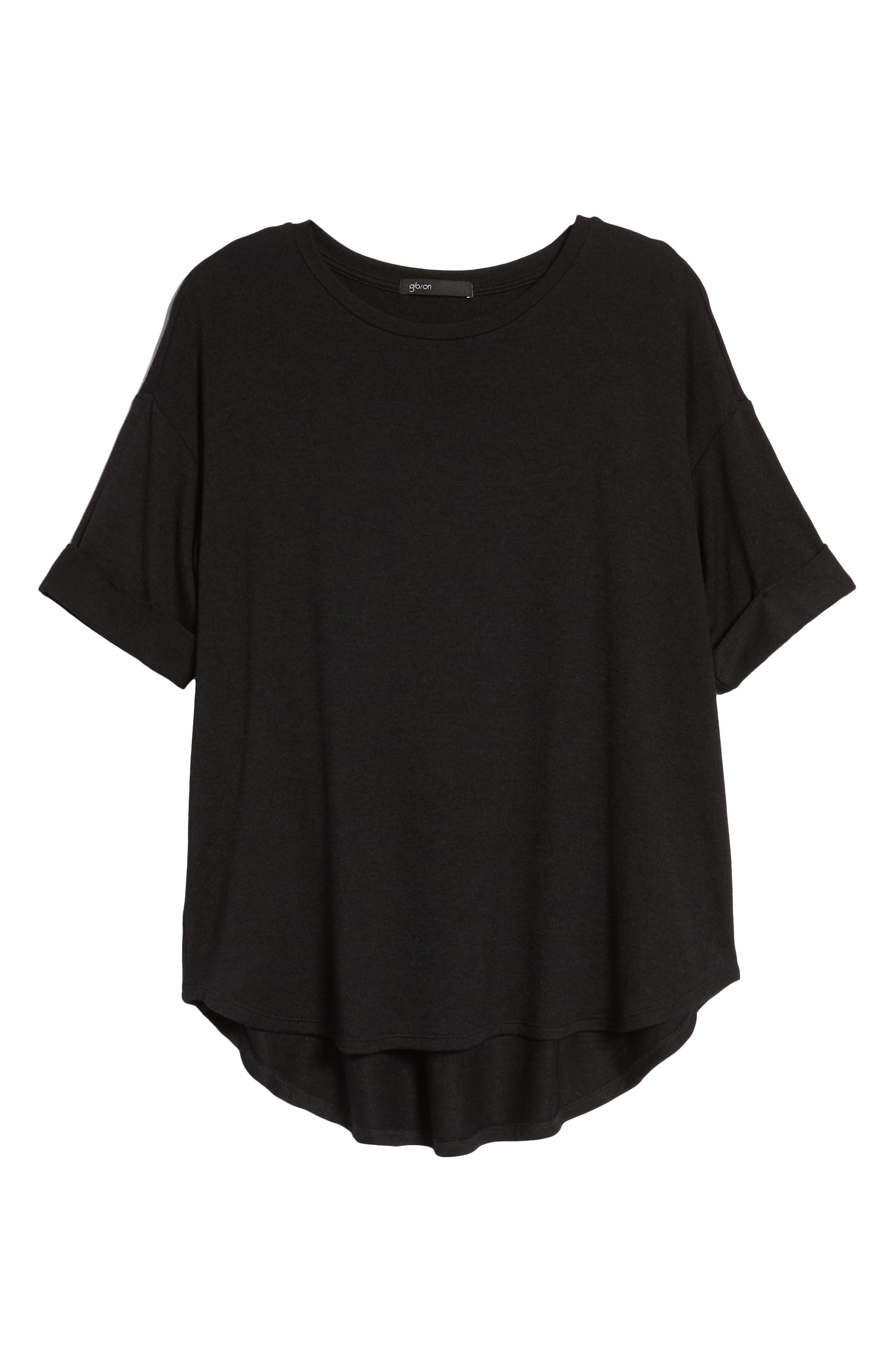 High/Low Short Sleeve Top,                             Alternate thumbnail 7, color,                             001