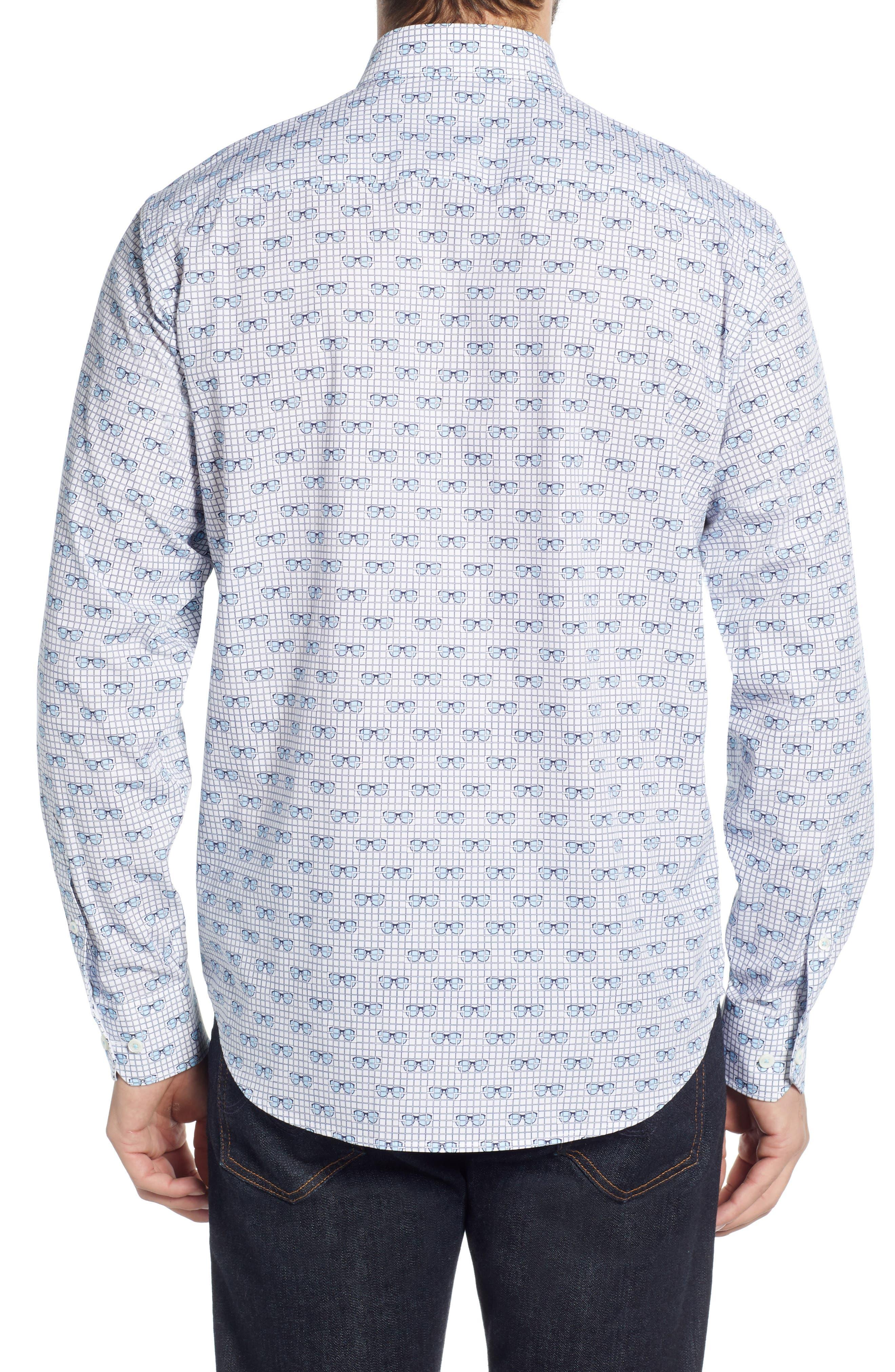 Shaped Fit Print Sport Shirt,                             Alternate thumbnail 3, color,                             SKY