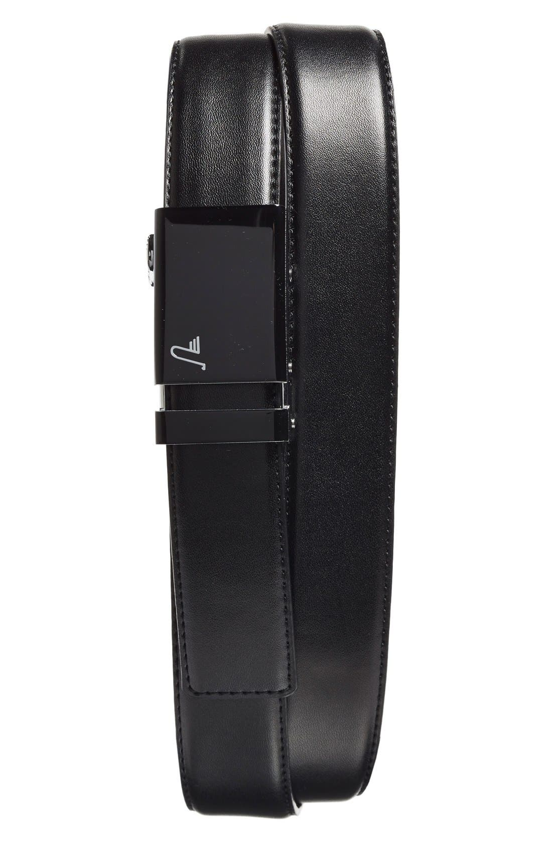 'Vader 40' Leather Belt,                         Main,                         color, BLACK/ BLACK