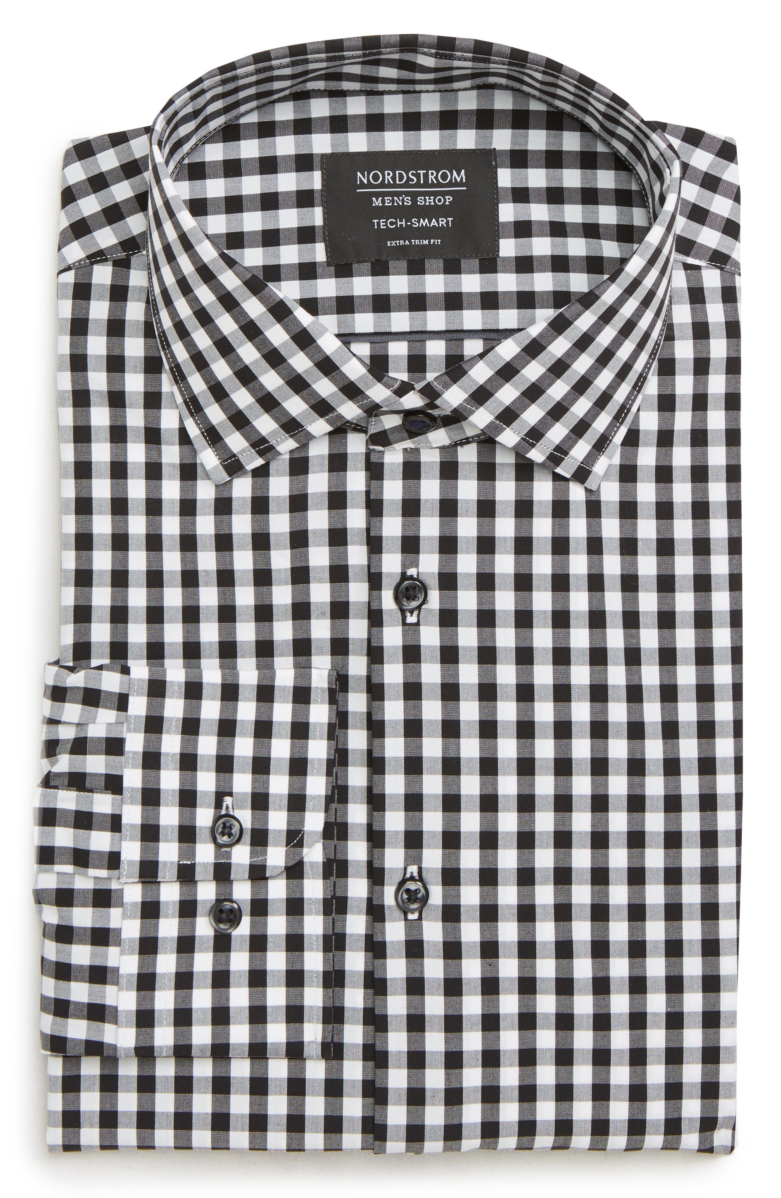 Tech-Smart Extra Trim Fit Stretch Check Dress Shirt,                         Main,                         color, BLACK ROCK