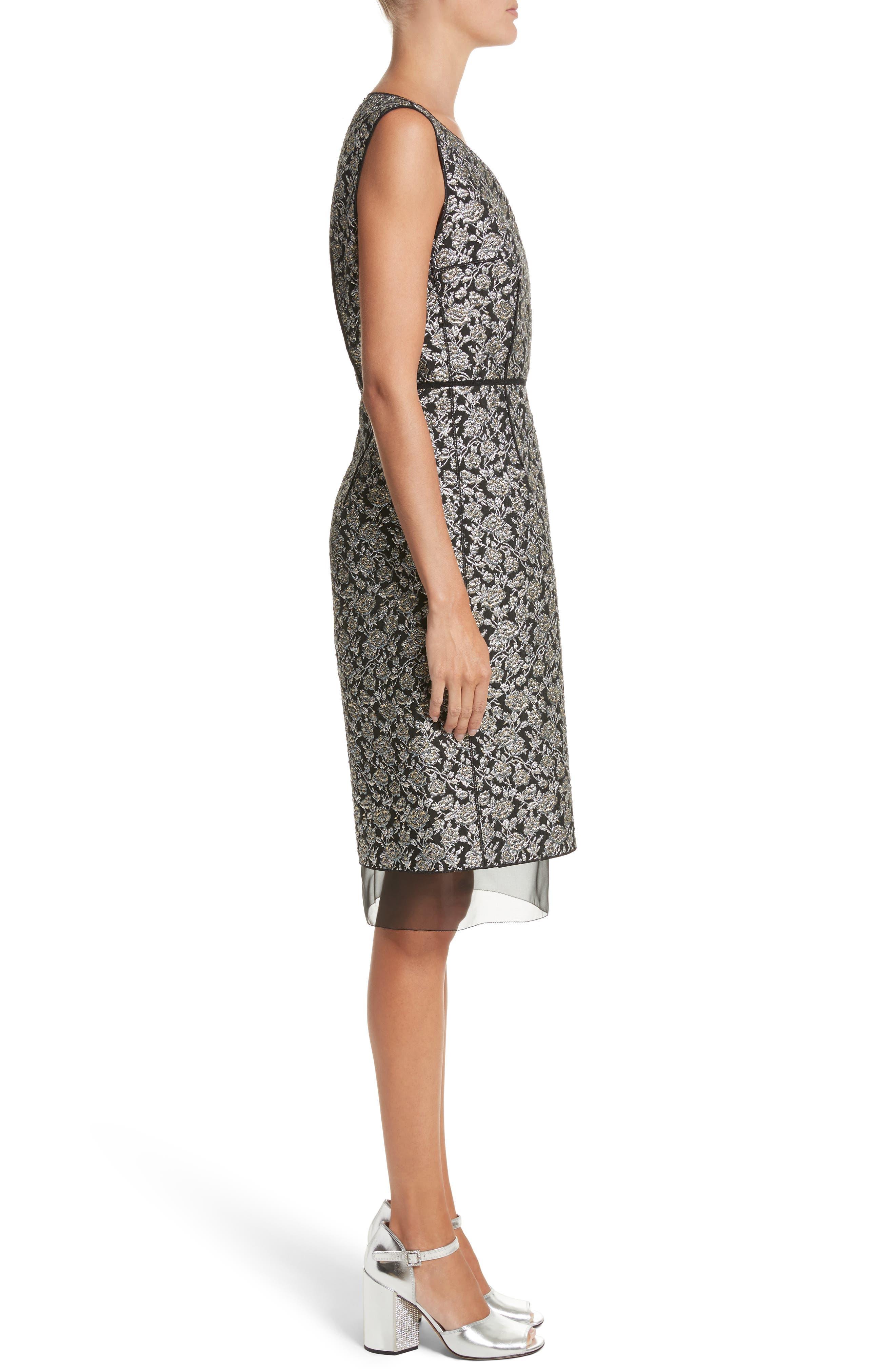 Metallic Jacquard Sheath Dress,                             Alternate thumbnail 3, color,