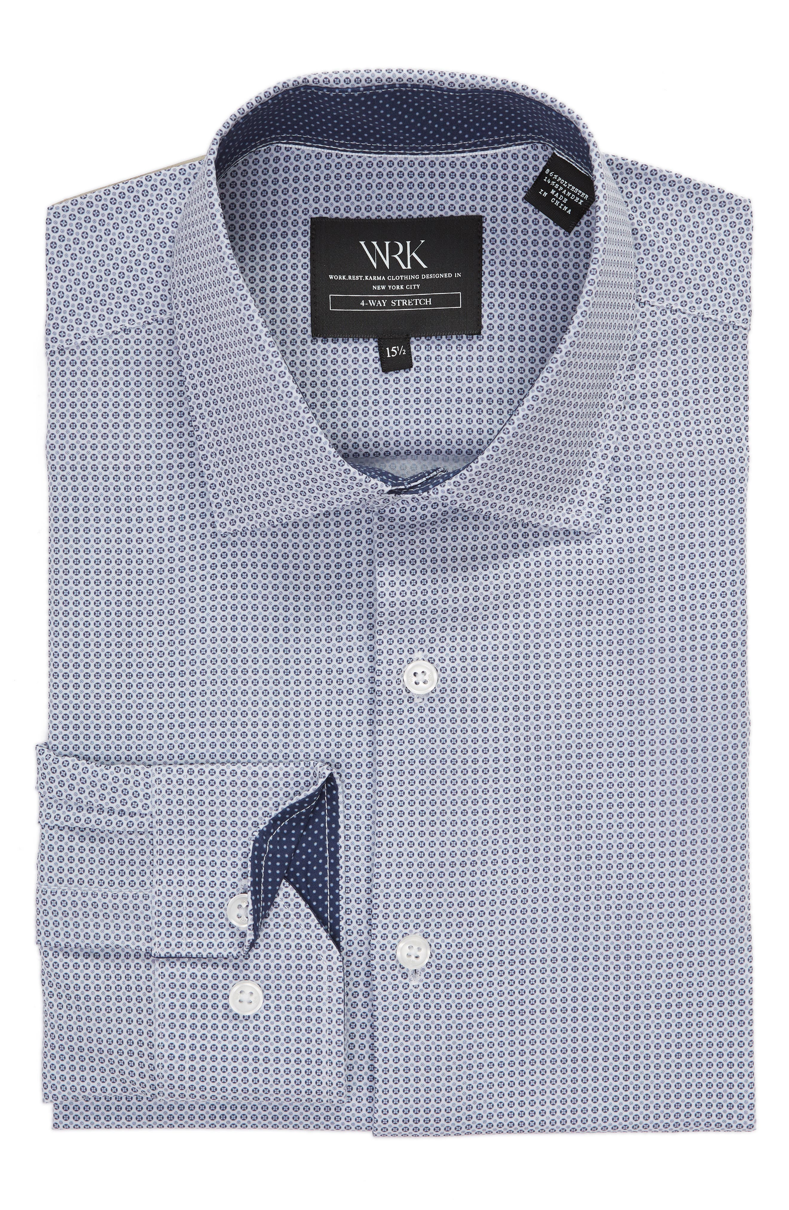 Trim Fit 4-Way Stretch Geometric Dress Shirt,                             Alternate thumbnail 5, color,                             400